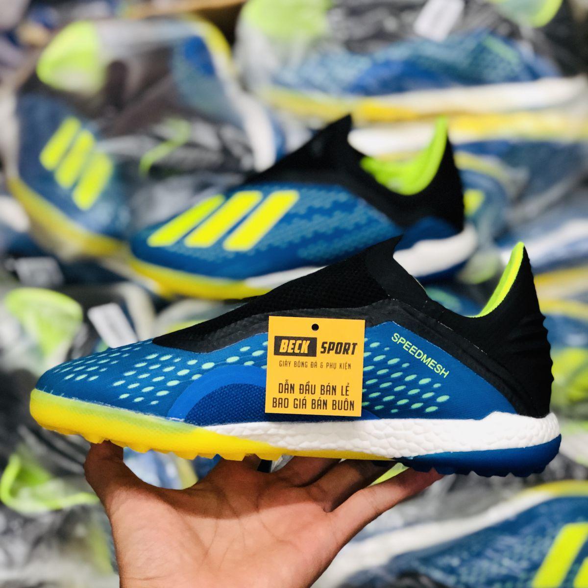 Giày Bóng Đá Adidas X 18+ Xanh Biển Chuối Không Dây TF