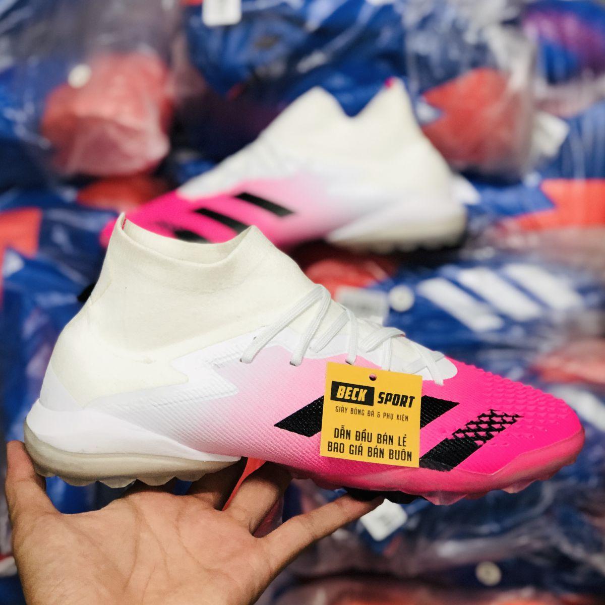 Giày Bóng Đá Adidas Predator 20.1 Trắng Mũi Hồng Vạch Đen Cao Cổ TF
