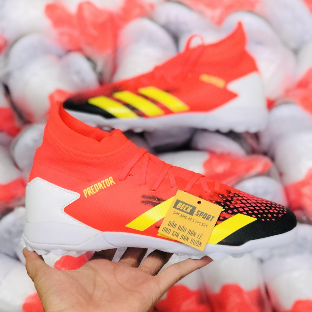 Giày Bóng Đá Adidas Predator 20.3 Cam Mũi Đen Vạch Vàng Cao Cổ TF