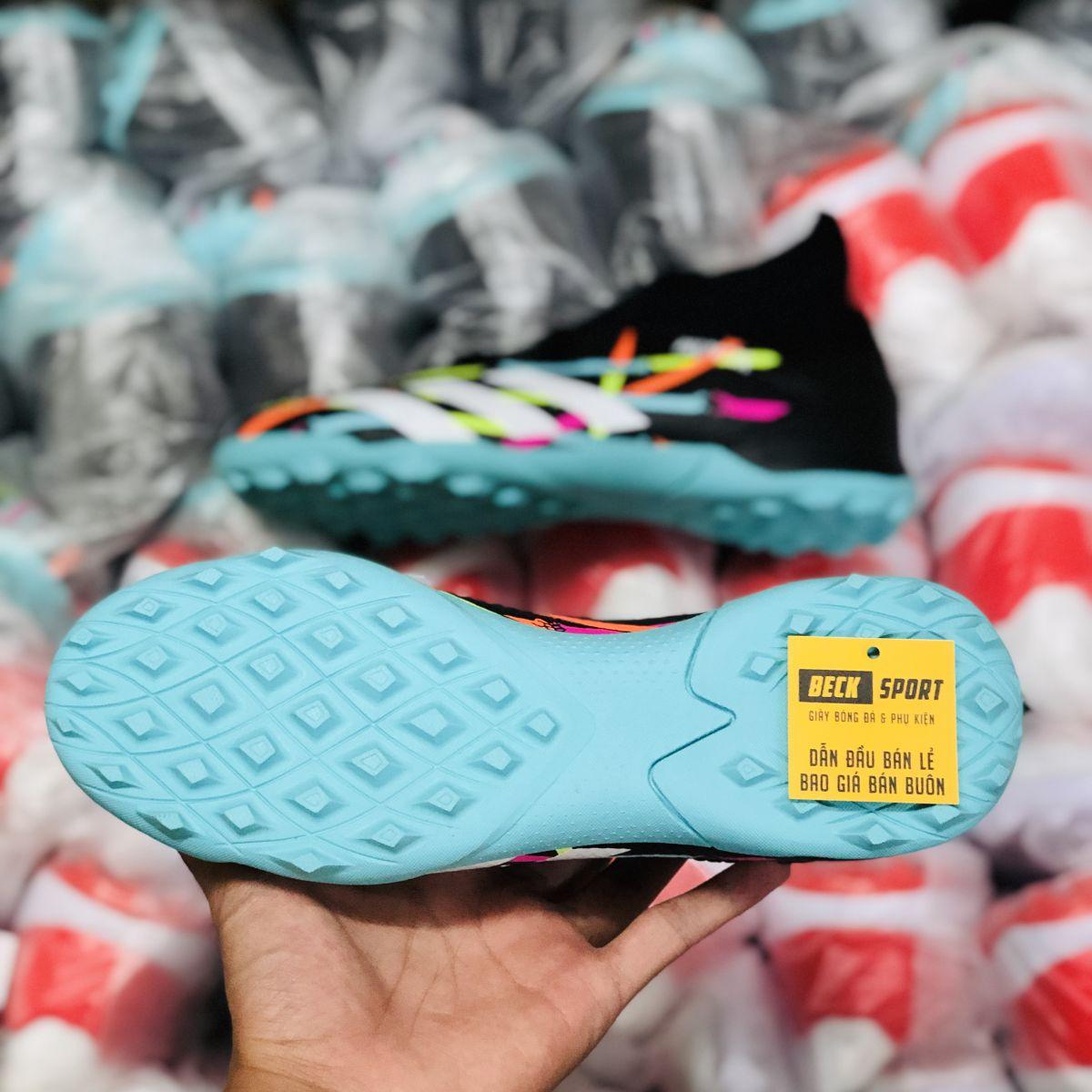 Giày Bóng Đá Adidas Predator 20.3 Đen Vạch Trắng Đế Xanh Ngọc Cao Cổ TF