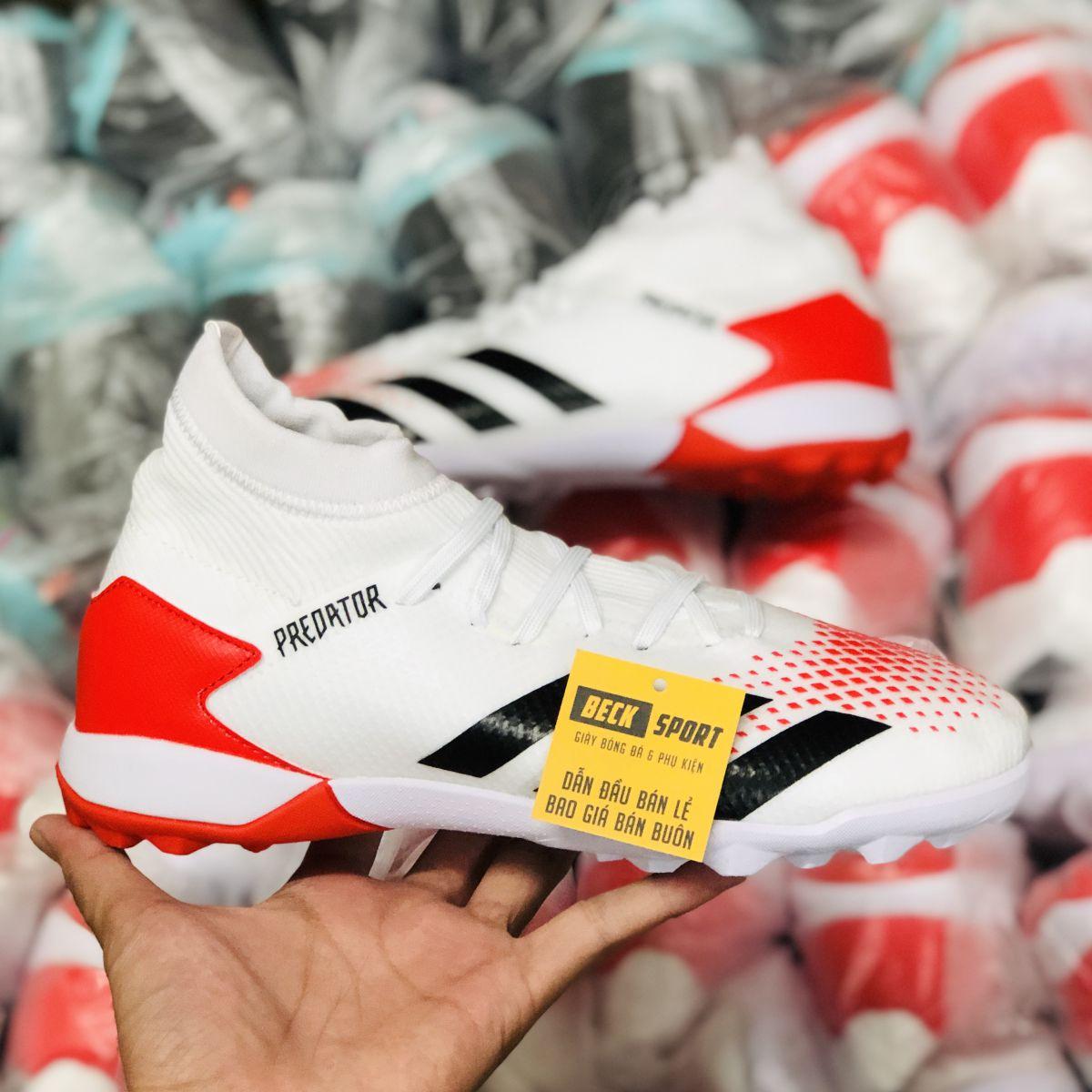 Giày Bóng Đá Adidas Predator 20.3 Trắng Vạch Đen Gót Đỏ Cao Cổ TF