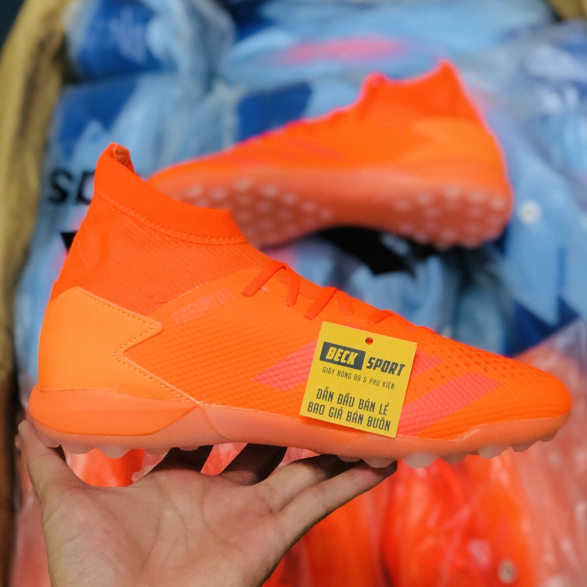 Giày Bóng Đá Adidas Predator 20.3 Locality Đỏ Cam Cổ Cao HQ TF