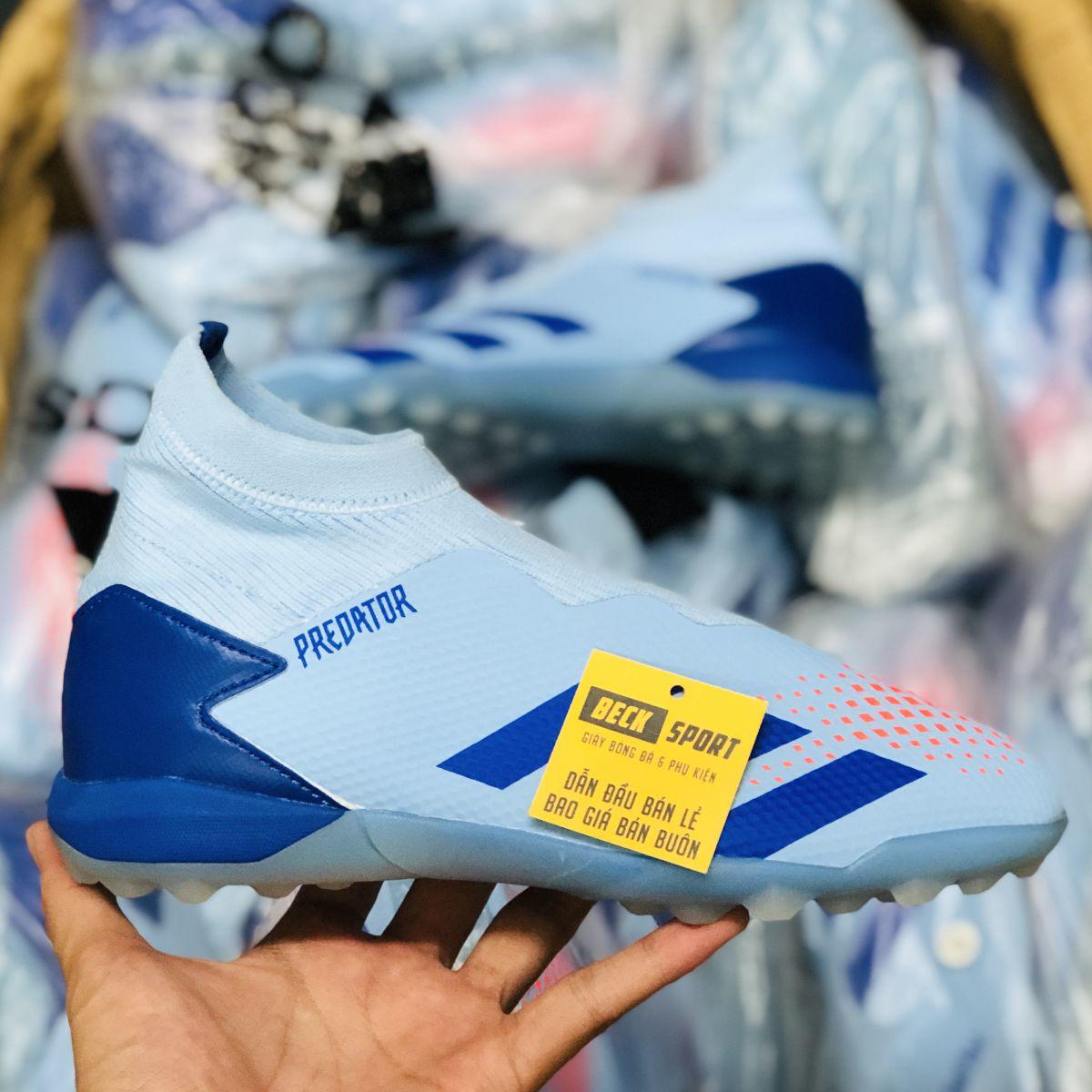 Giày Bóng Đá Adidas Predator 20.3 LL Xanh Dương Nhạt Không Dây Cao Cổ TF