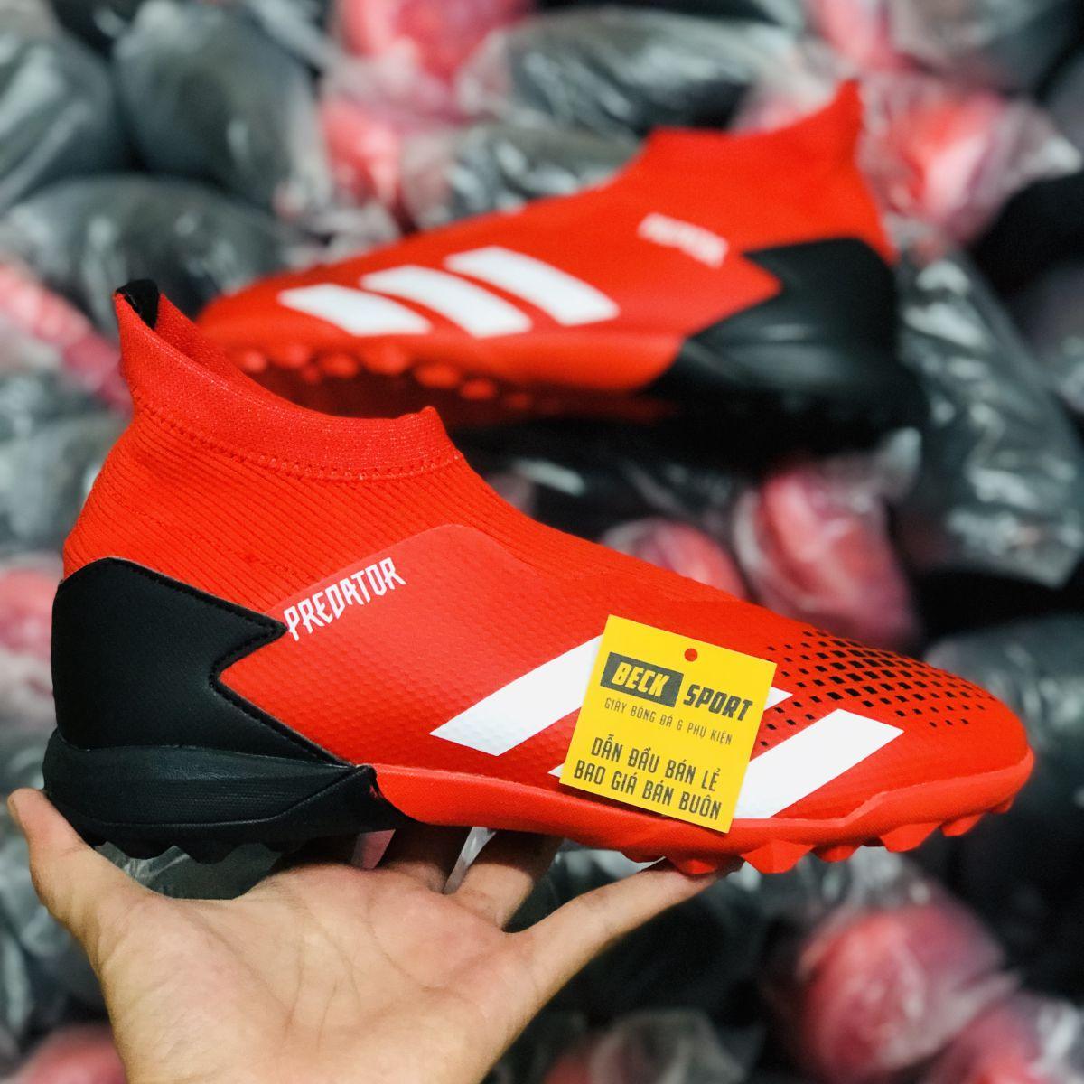 Giày Bóng Đá Adidas Predator 20.3 LL Đỏ Gót Đen Vạch Trắng Không Dây Cao Cổ TF