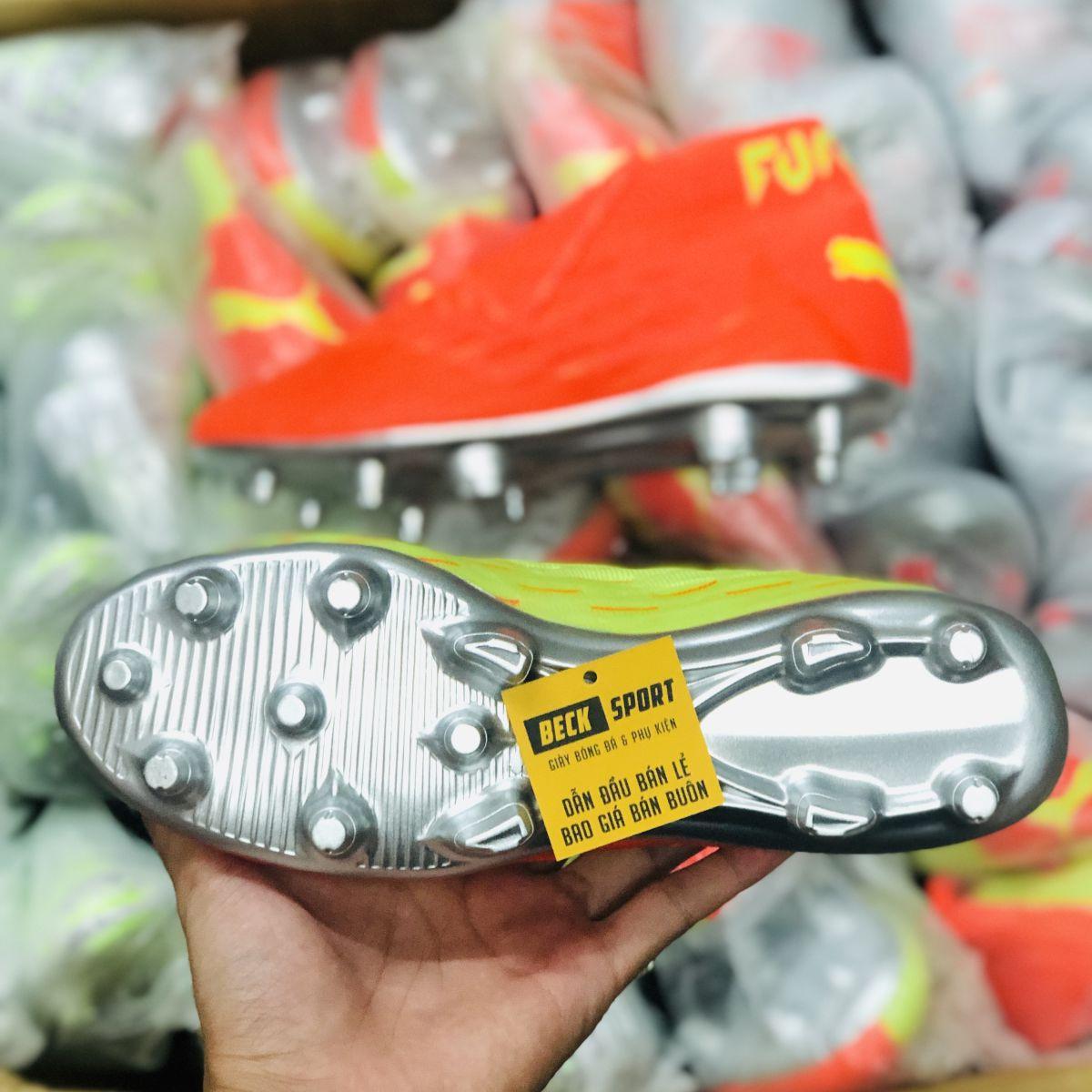 Giày Bóng Đá Puma Future 5.1 Netfit Cam Vàng Đế Bạc Cổ Lửng FG
