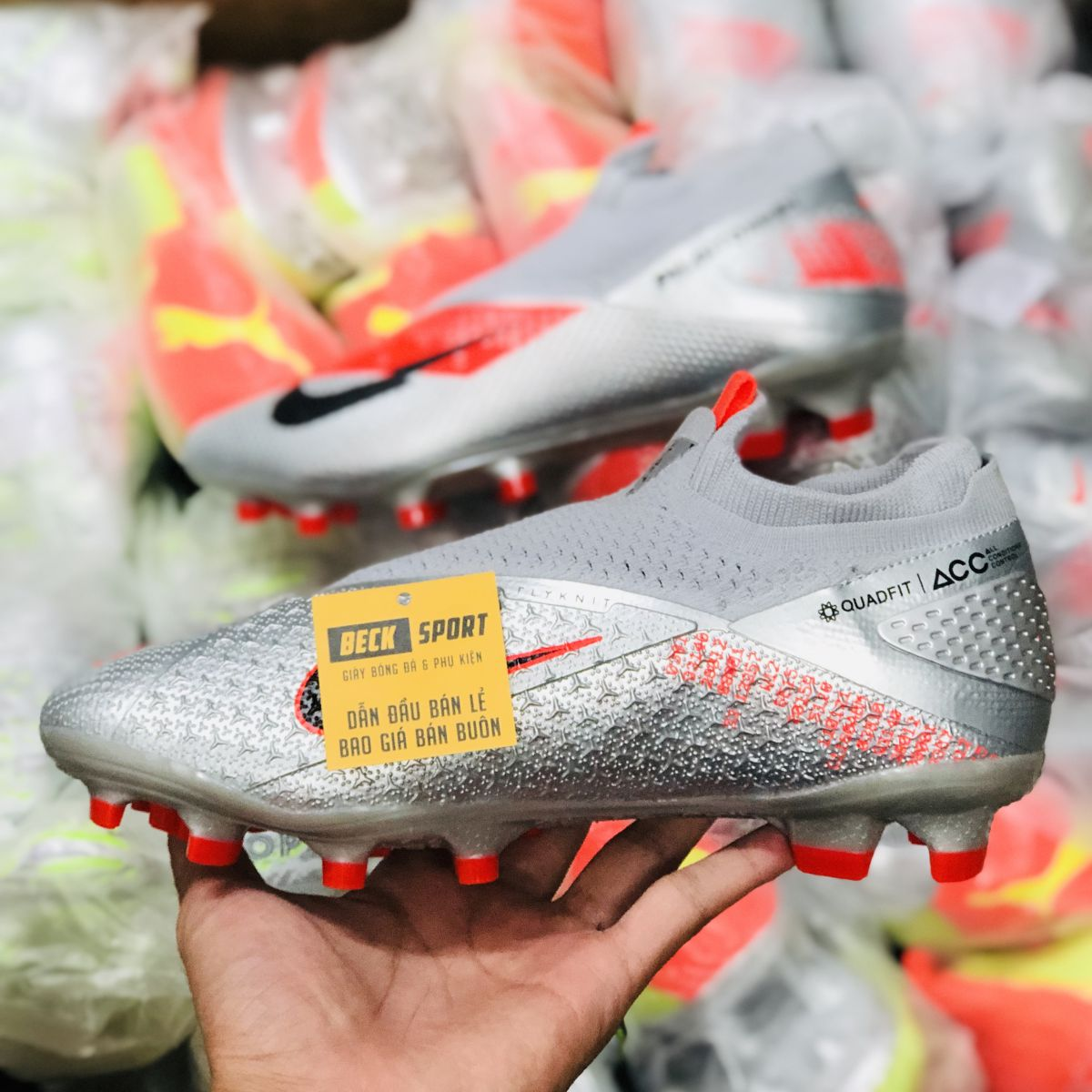 Giày Bóng Đá Nike Phantom VSN II Elite Xám Đỏ Vạch Đen  Giấu Dây Cổ Cao FG