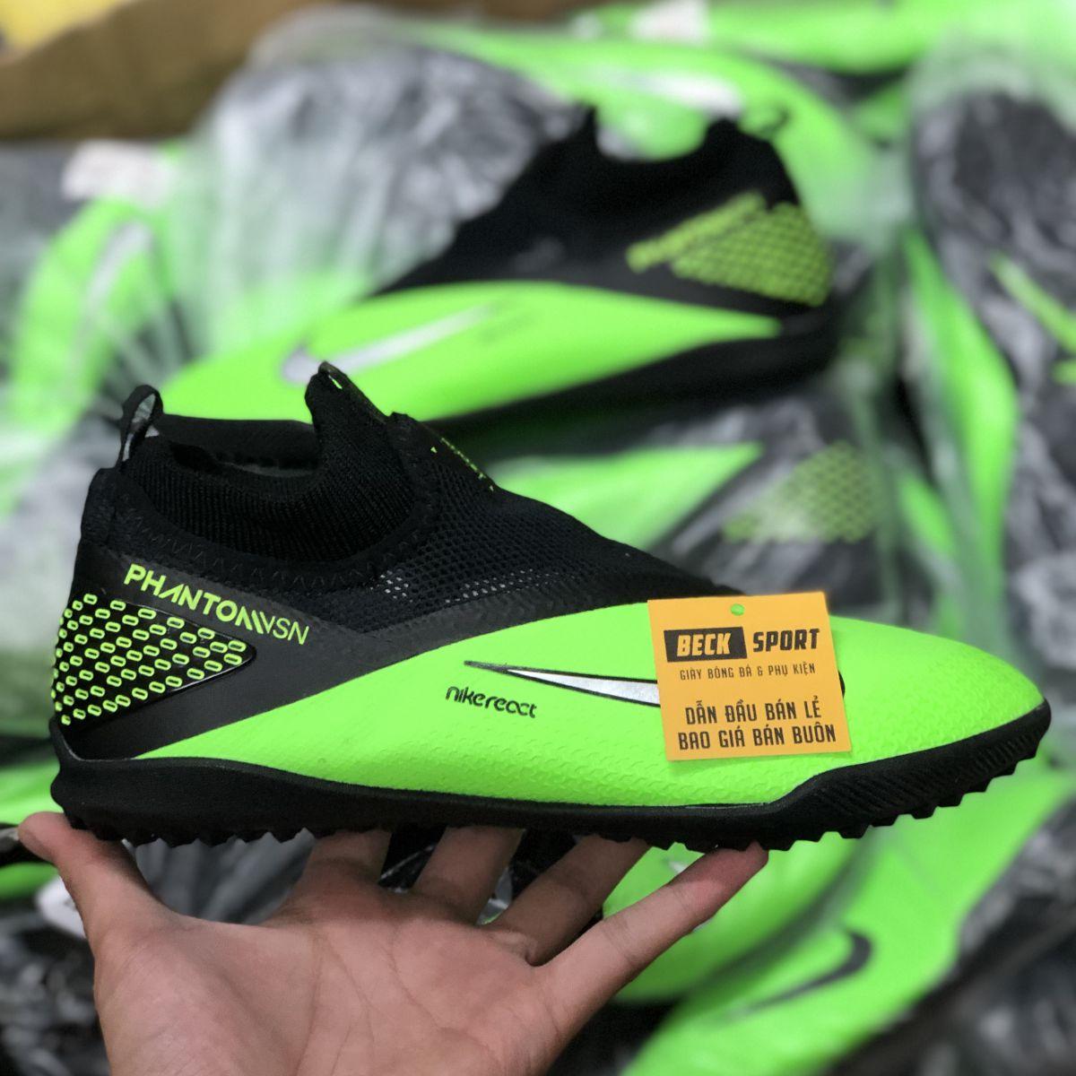 Giày Bóng Đá Nike Phantom VSN II Xanh Lá Gót Đen Cổ Cao Giấu Dây V2 TF