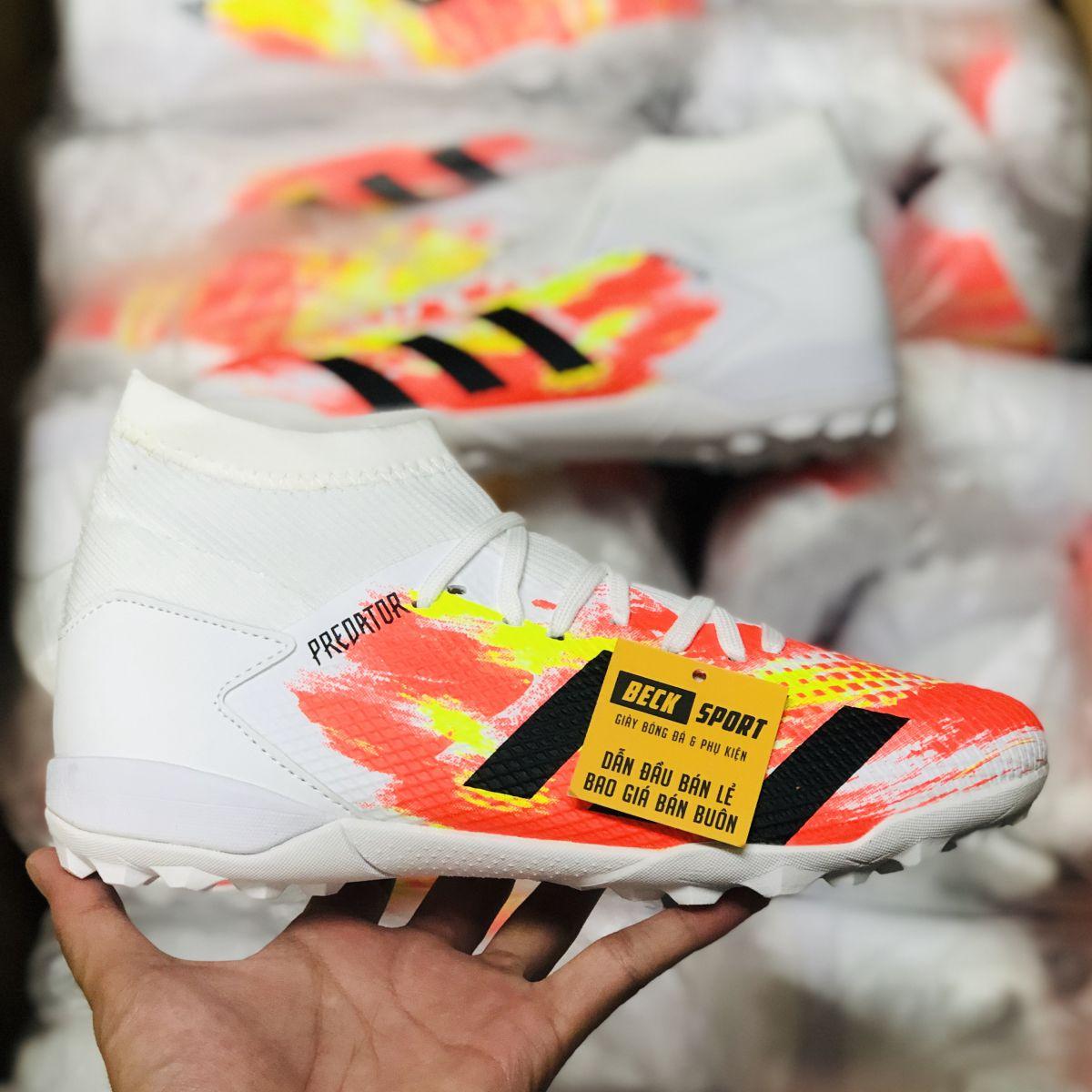 Giày Bóng Đá Adidas Predator 20.3 Uniforia Đỏ Vàng Gót Trắng Vạch Đen Cao Cổ HQ TF