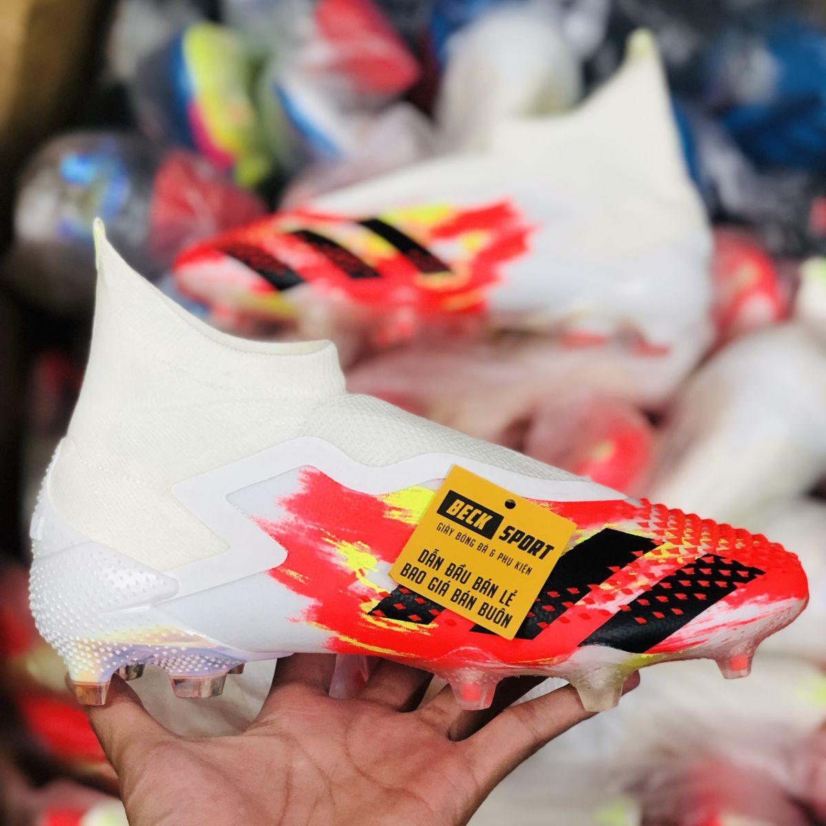 Giày Bóng Đá Adidas Predator 20+ Uniforia Đỏ Vàng Gót Trắng Vạch Đen Không Dây Cổ Cao FG