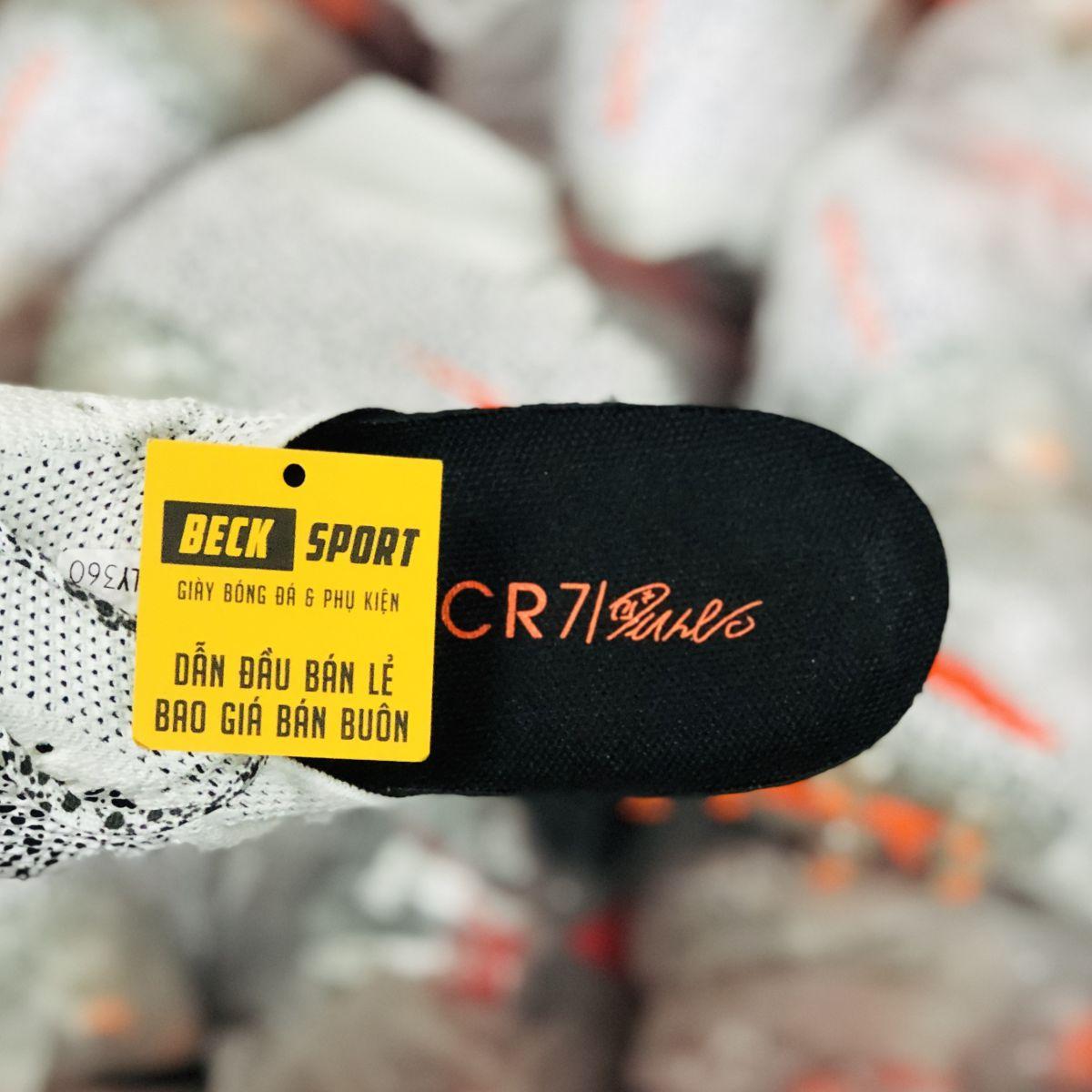 Giày Bóng Đá Nike Mercurial Superfly 7 Elite CR7 Safari Trắng Chấm Đen Vạch Cam Cổ Cao FG