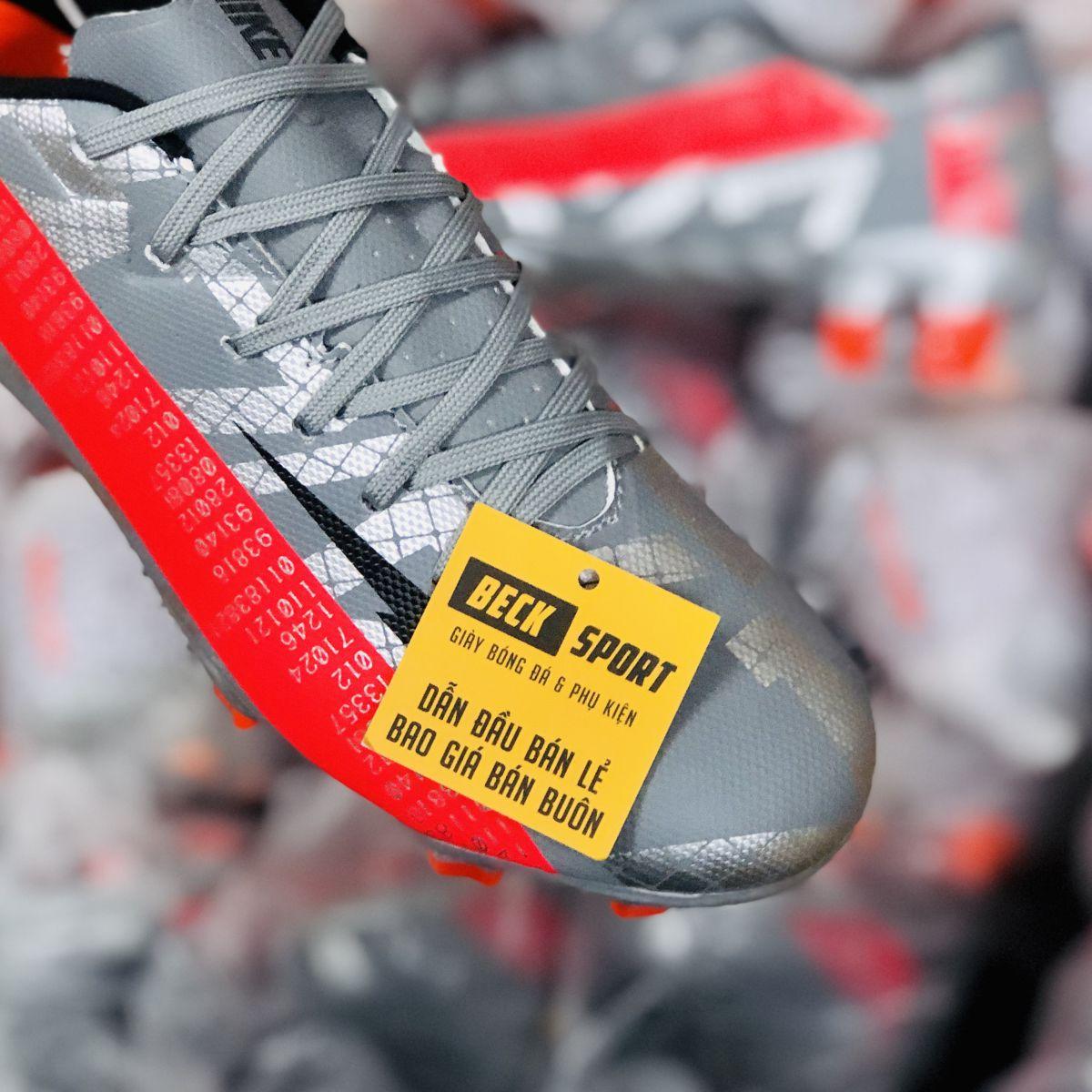 Giày Bóng Đá Nike Mercurial Vapor 13 Academy Xám Hồng Vạch Đen FG