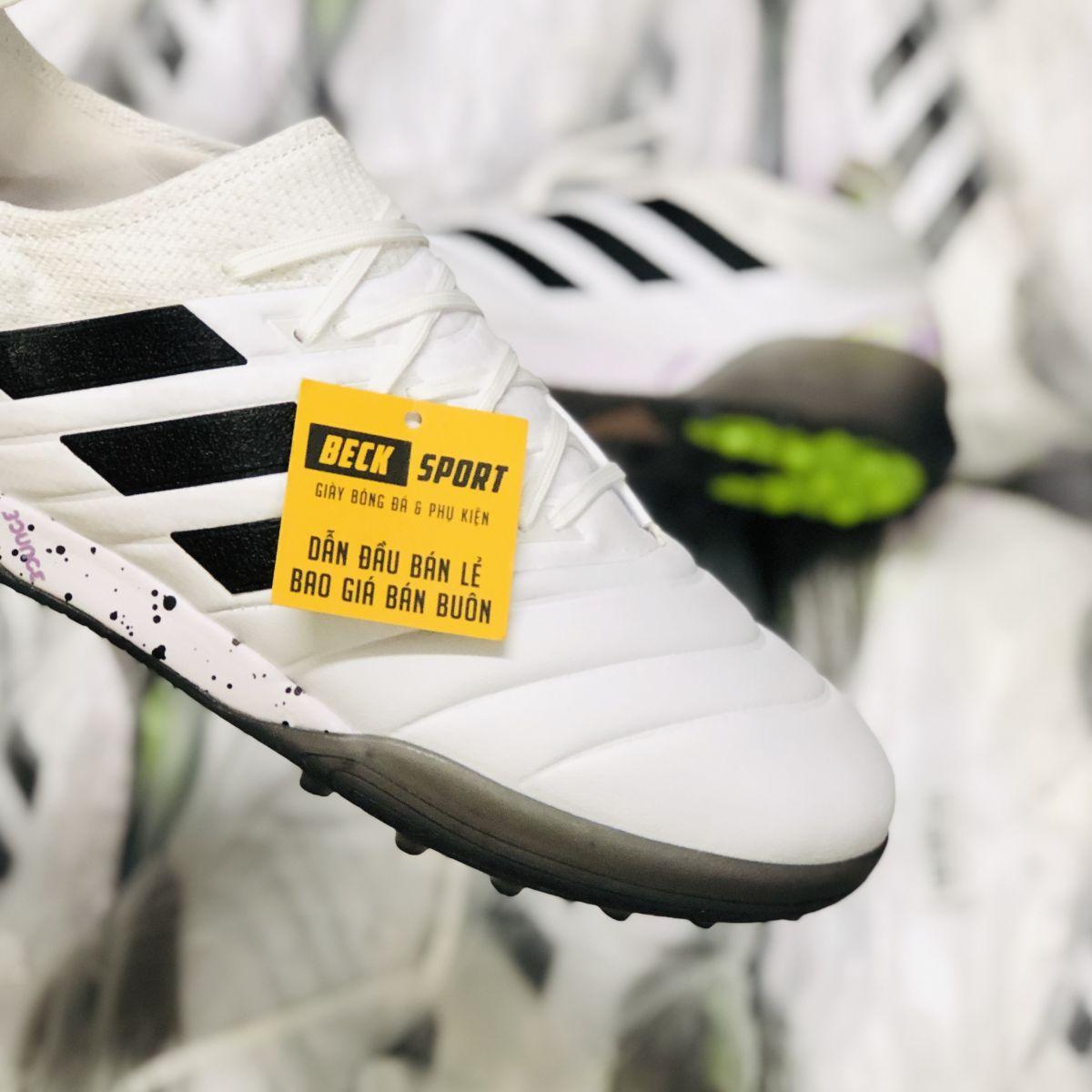 Giày Bóng Đá Adidas Copa 20.1 Uniforia Trắng Vạch Đen Da Thật TF