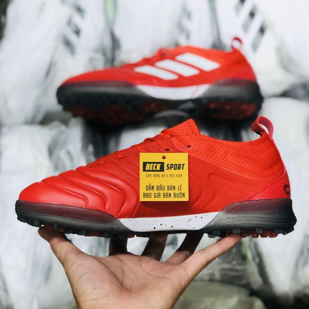 Giày Bóng Đá Adidas Copa 20.1 Đỏ Vạch Trắng Da Thật TF
