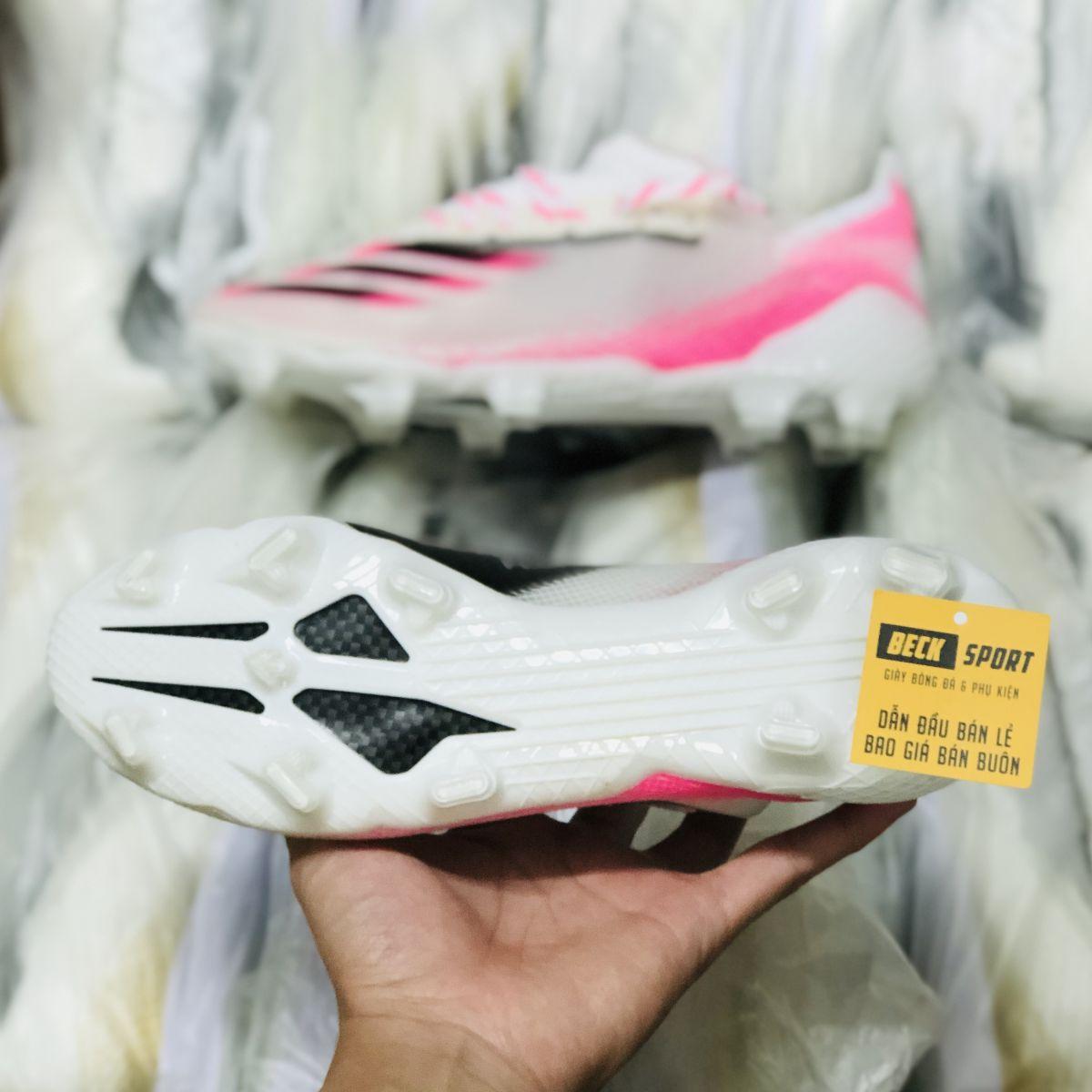 Giày Bóng Đá Adidas X Ghosted.1 Trắng Hồng Vạch Đen V2 FG