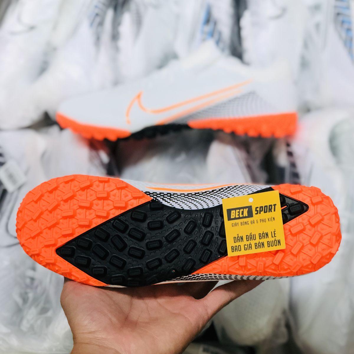 Giày Bóng Đá Nike Mercurial Vapor 13 Pro Trắng Đen Vạch Cam Cổ Lửng HQ TF