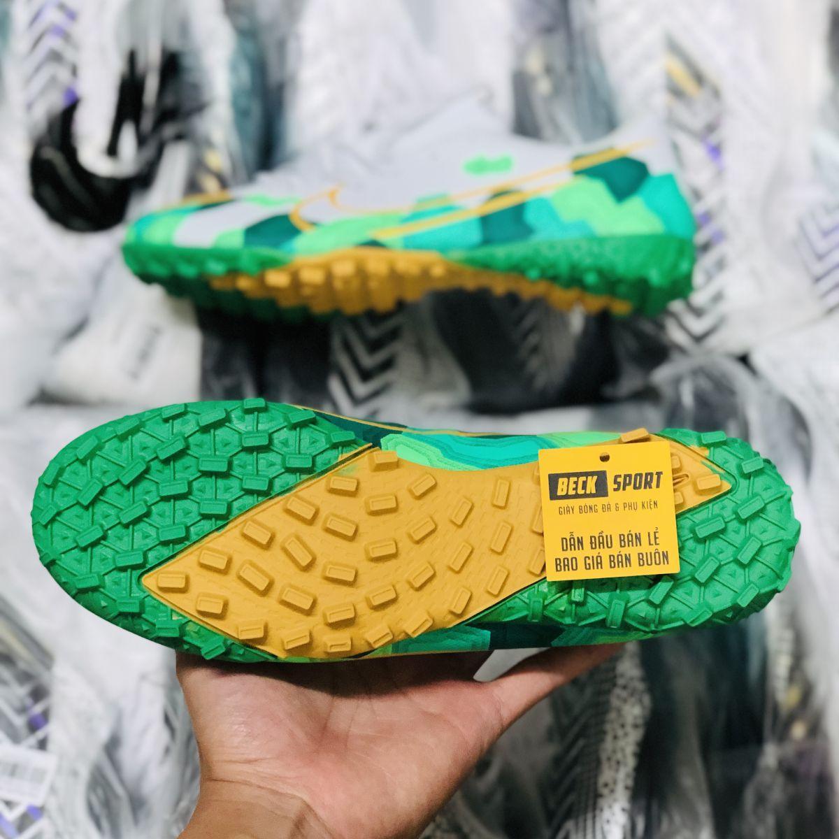 Giày Bóng Đá Nike Mercurial 13 Academy Trắng Xanh Lục Vạch Vàng TF