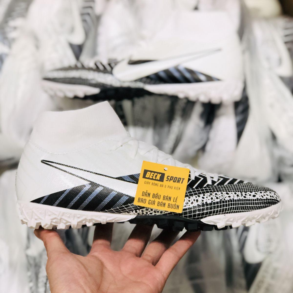 Giày Bóng Đá Nike Mercurial Superfly 7 Academy MDS003 Trắng Vạch Đen Cổ Cao TF