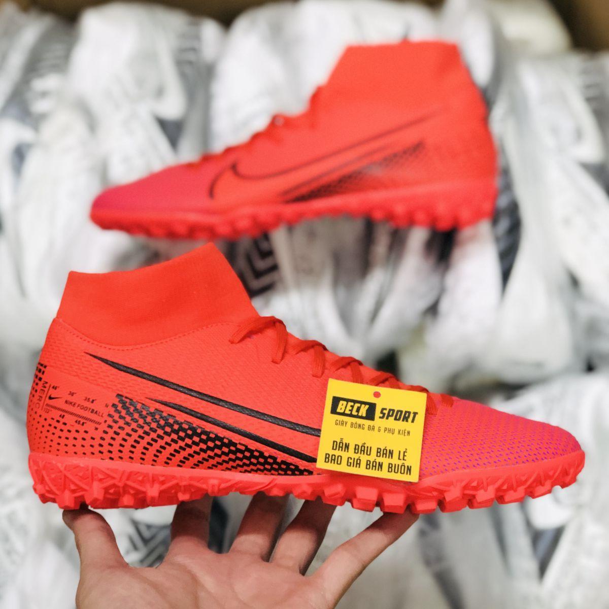 Giày Bóng Đá Nike Mercurial Superfly 7 Academy Đỏ Vạch Đen Cổ Cao TF