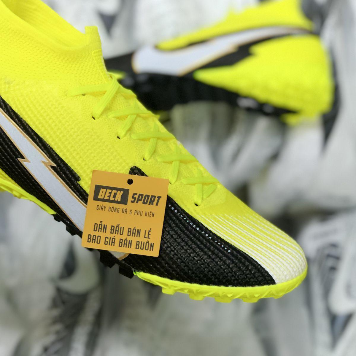 Giày Bóng Đá Nike Mercurial Superfly 7 Elite Vàng Đen Vạch Trắng Cổ Cao TF
