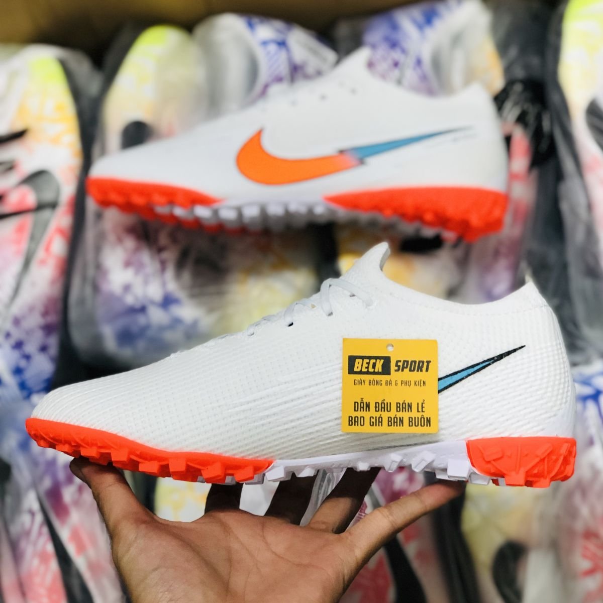 Giày Bóng Đá Nike Mercurial Vapor 13 Elite Olympics Trắng Vạch Hồng V2 TF