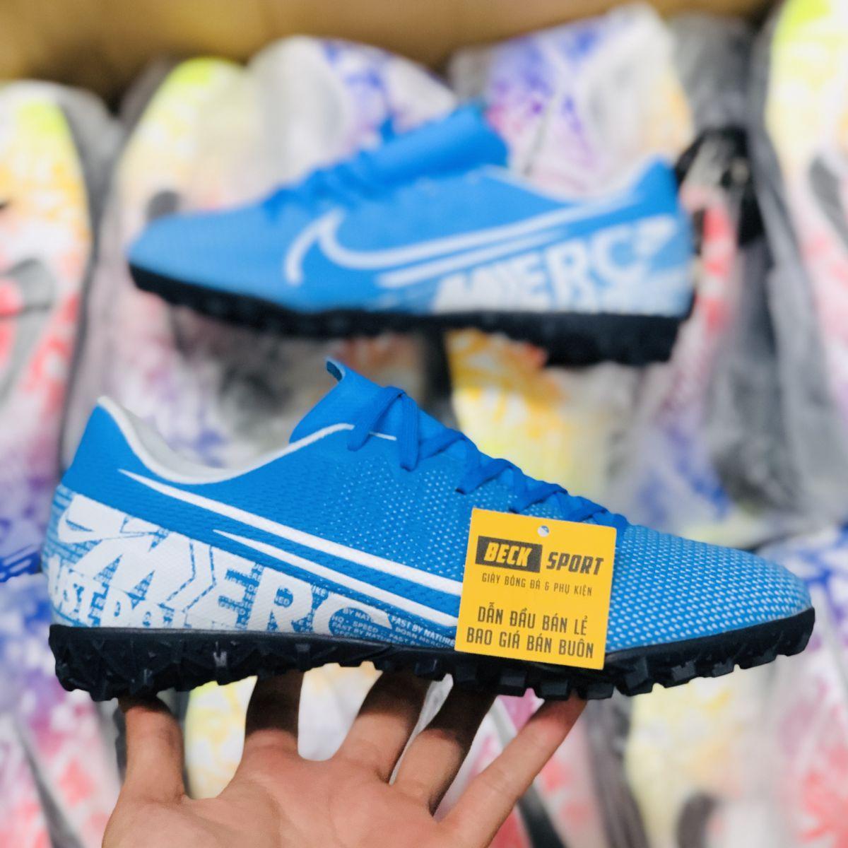 Giày Bóng Đá Trẻ Em Nike Mercurial Vapor 13 Academy Xanh Biển Vạch Trắng TF