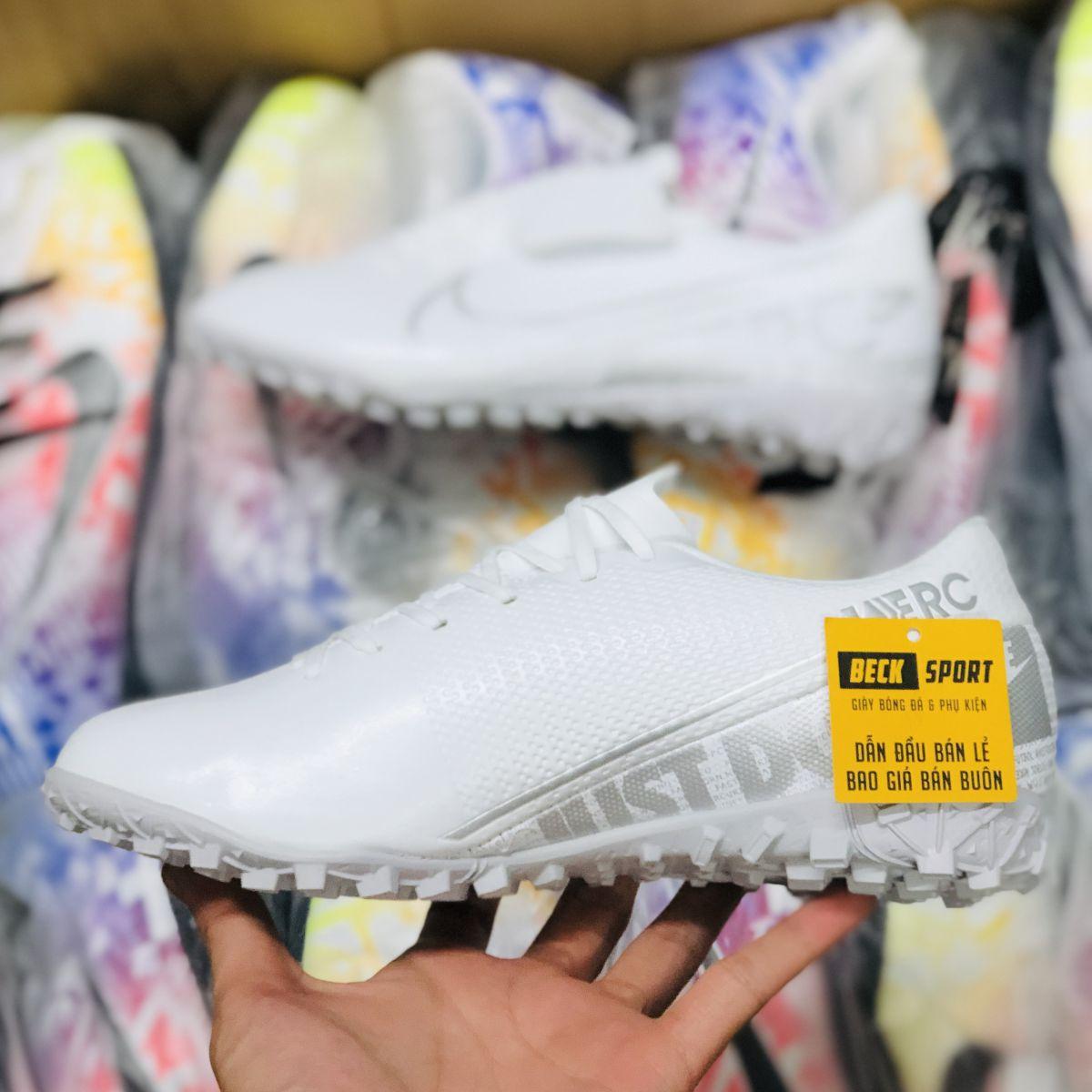 Giày Bóng Đá Trẻ Em Nike Mercurial Vapor 13 Academy Trắng Vạch Xám Đế Xám TF