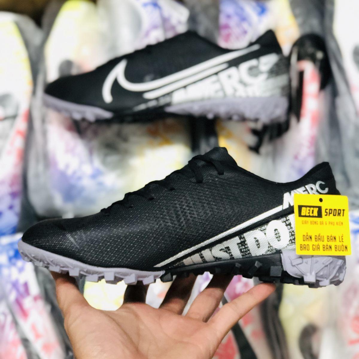 Giày Bóng Đá Trẻ Em Nike Mercurial Vapor 13 Academy Đen Vạch Xám TF