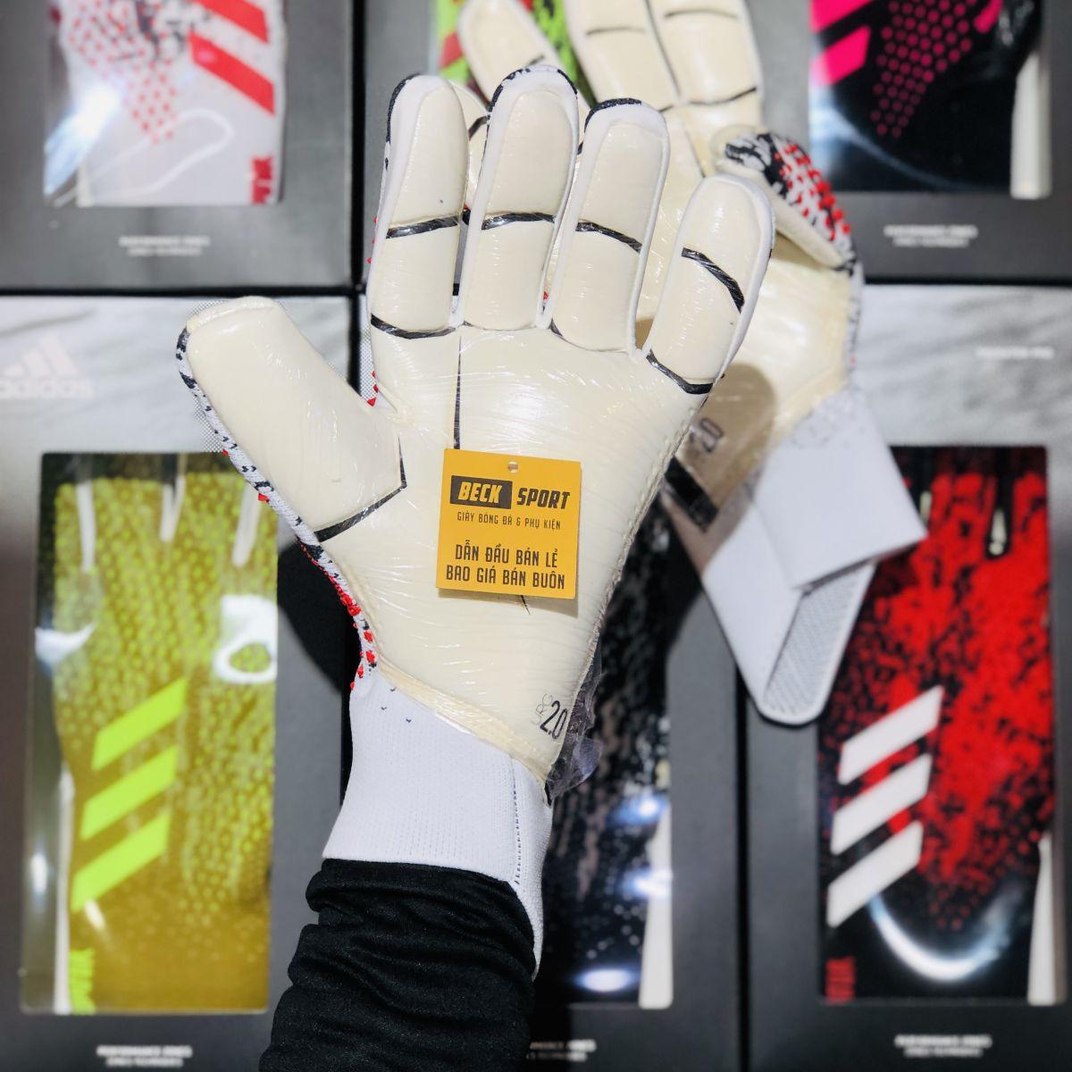 Găng Tay Adidas Predator 20 Pro PC Manuel Neuer Trắng Đen Vạch Đỏ V2 ( Không Xương )