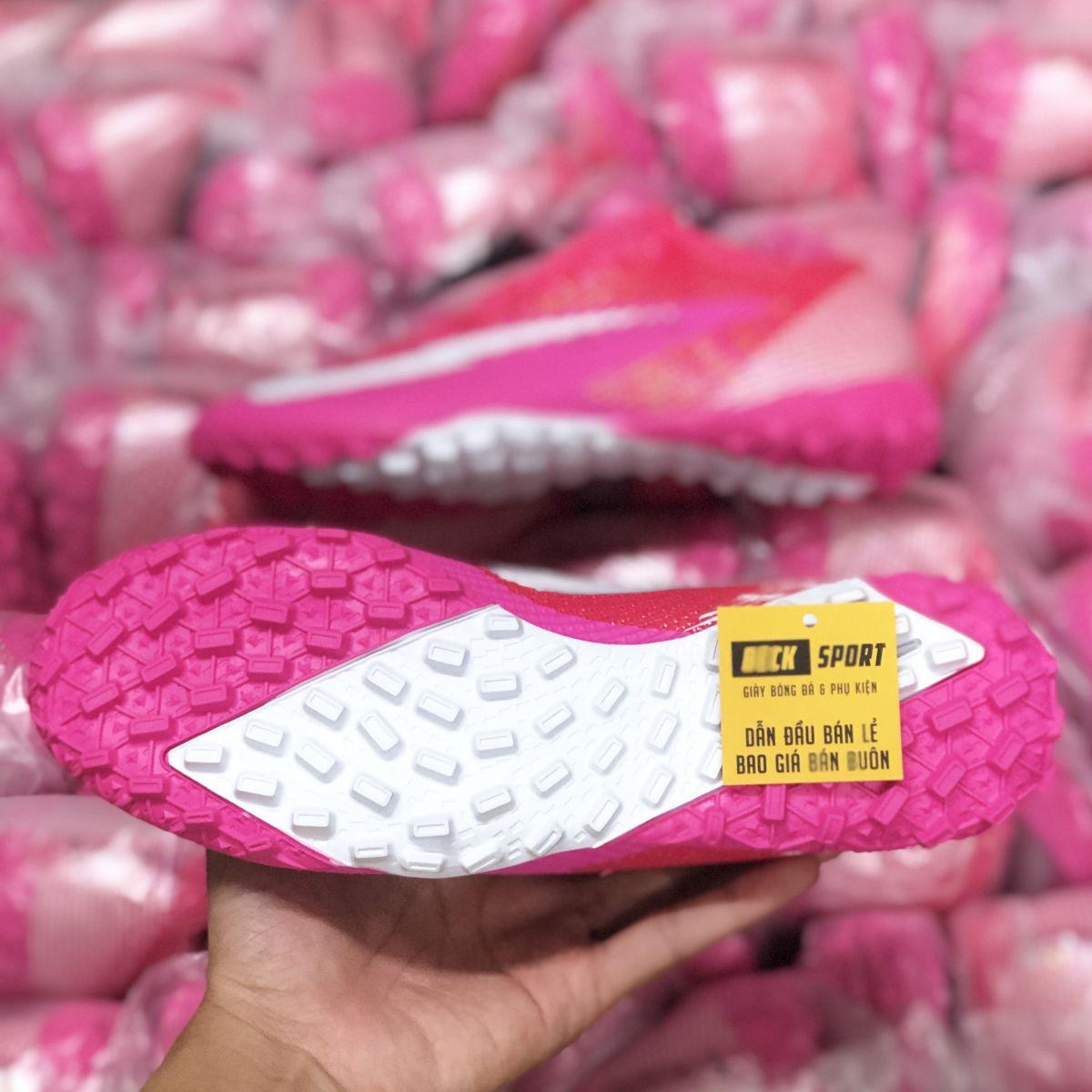 Giày Bóng Đá TQ Nike Mercurial Vapor 13 Elite Mbappe Hồng Vạch Trắng Cổ Lửng TF