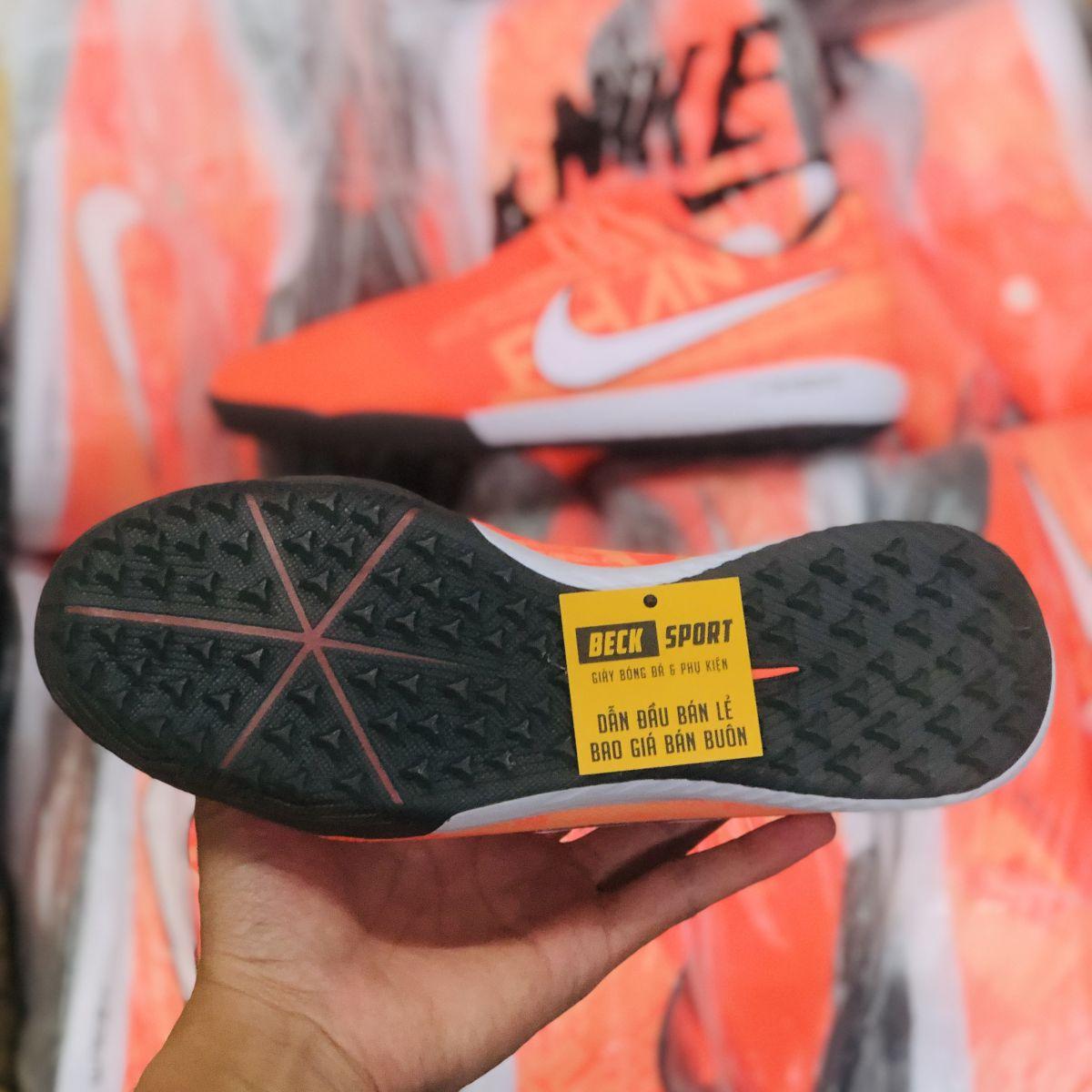 Giày Bóng Đá Nike Zoom Phantom VNM Pro Cam Đỏ Vạch Trắng Giấu Dây TF
