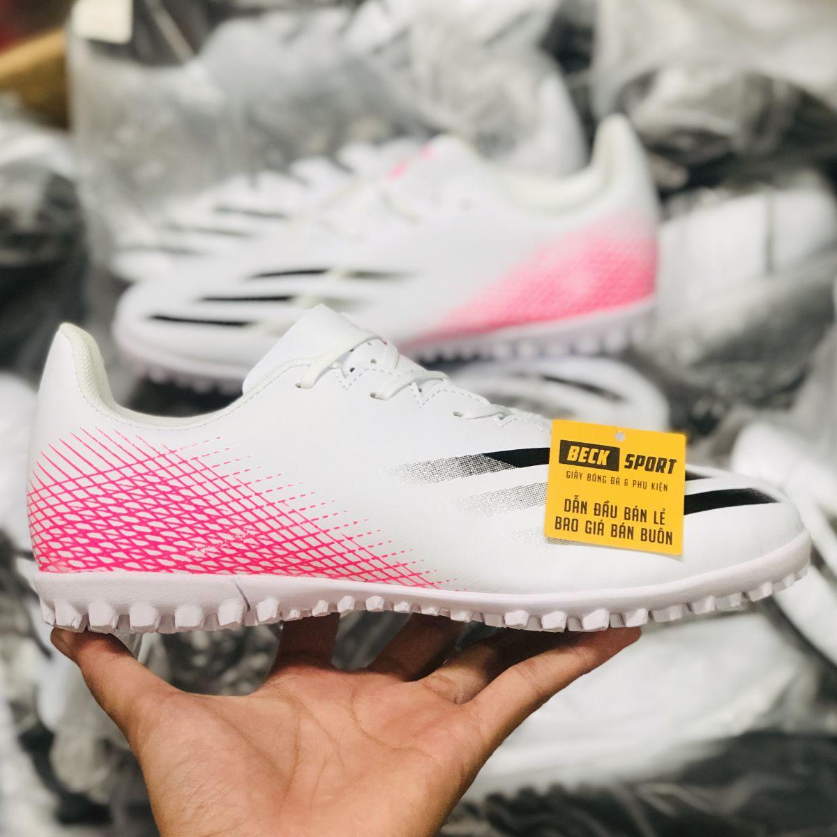 Giày Bóng Đá TQ Adidas X Ghosted.4 Trắng Hồng Vạch Đen TF