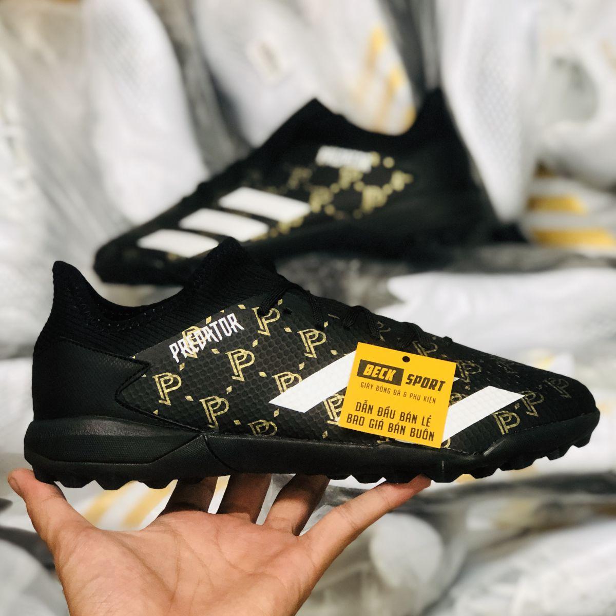 Giày Bóng Đá Adidas Predator 20.3 Pogba Đen Vàng Vạch Trắng Cổ Lửng TF
