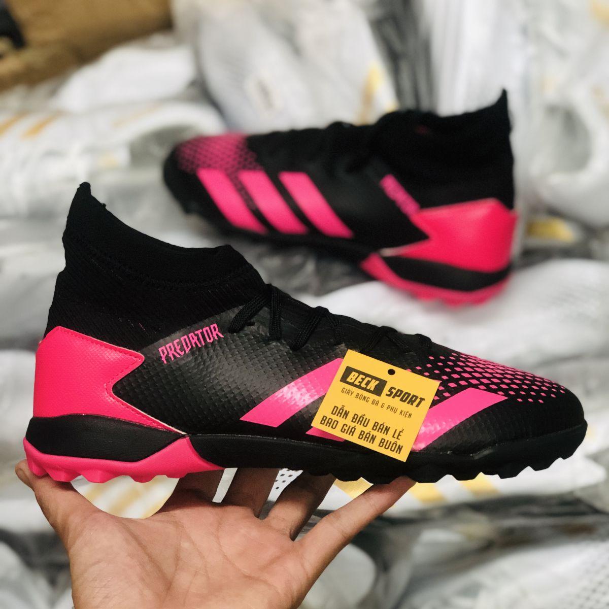 Giày Bóng Đá Adidas Predator 20.3 Đen Vạch Hồng Cổ Cao TF