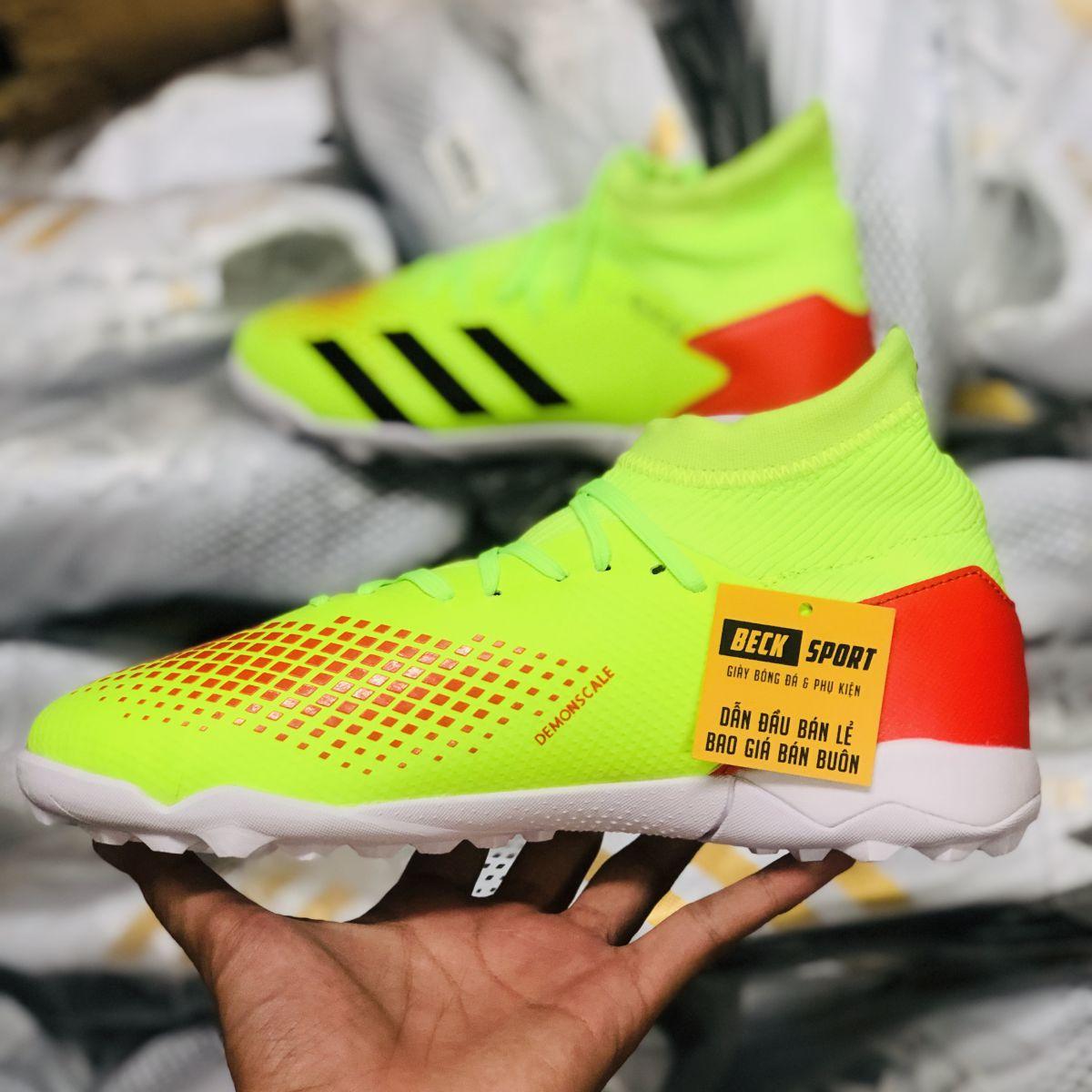 Giày Bóng Đá Adidas Predator 20.3 Nõn Chuối Đỏ Vạch Đen Cổ Cao TF