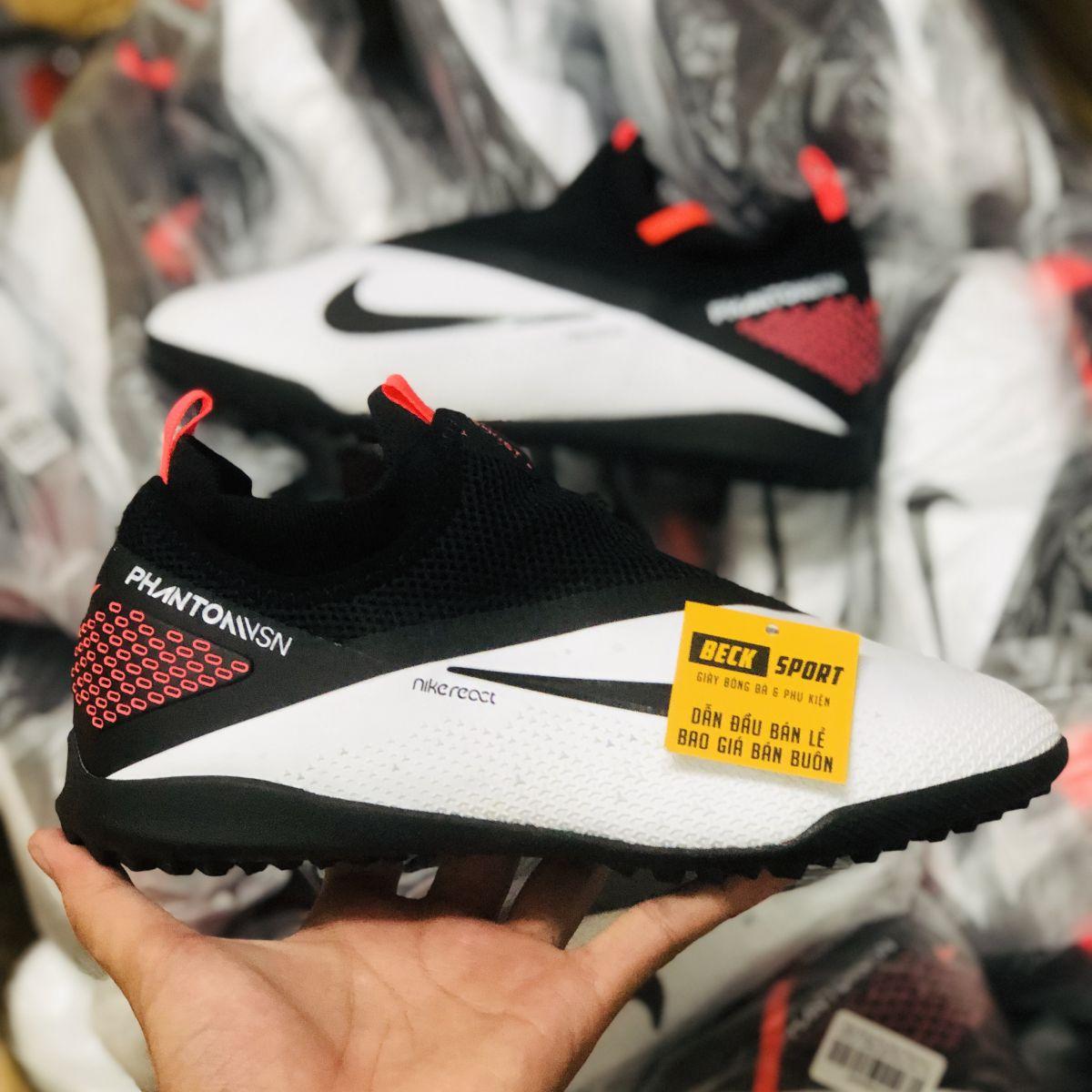 Giày Bóng Đá Nike Phantom VSN II Trắng Gót Đen Cổ Cao Giấu Dây TF