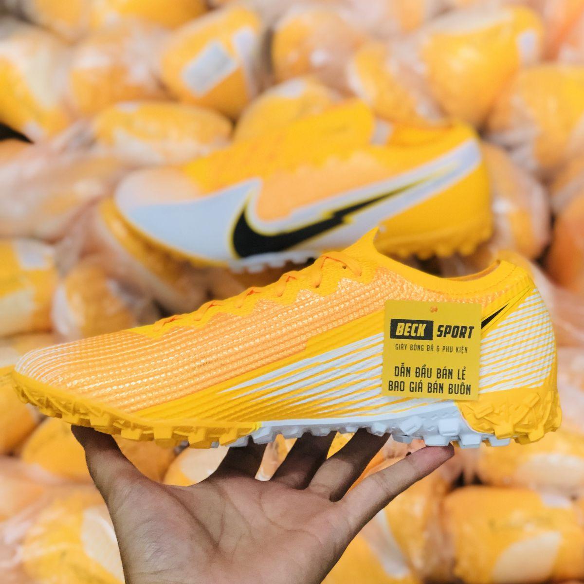 Giày Bóng Đá TQ Nike Mercurial Vapor 13 Elite Vàng Trắng Vạch Đen Cổ Lửng TF