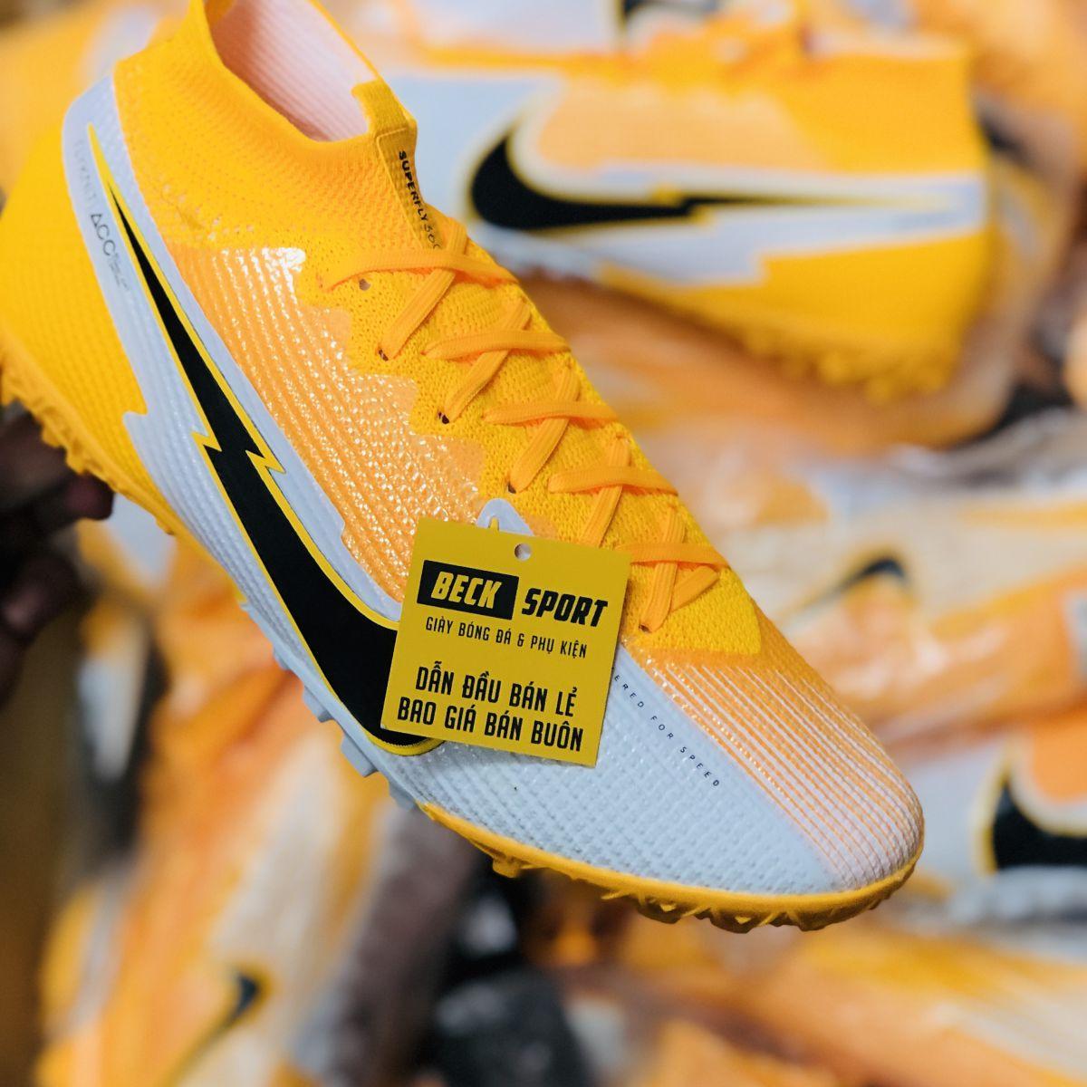 Giày Bóng Đá TQ Nike Mercurial Superfly 7 Elite Vàng Trắng Vạch Đen Cổ Cao TF