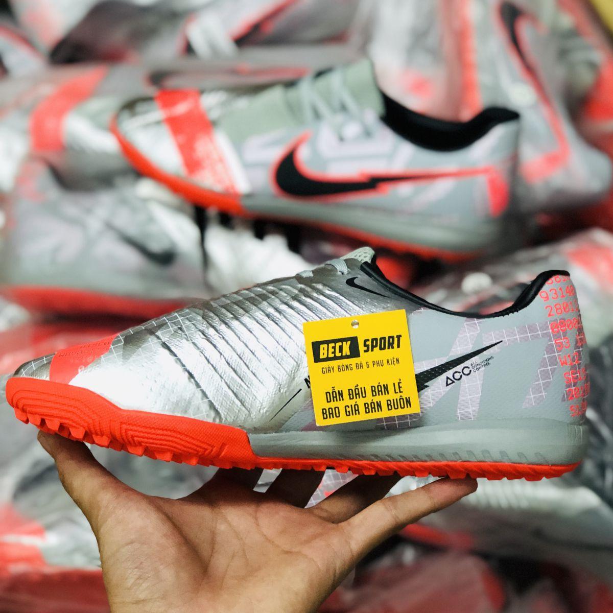 Giày Bóng Đá Nike Phantom VNM Academy Xám Hồng Vạch Đen Giấu Dây TF