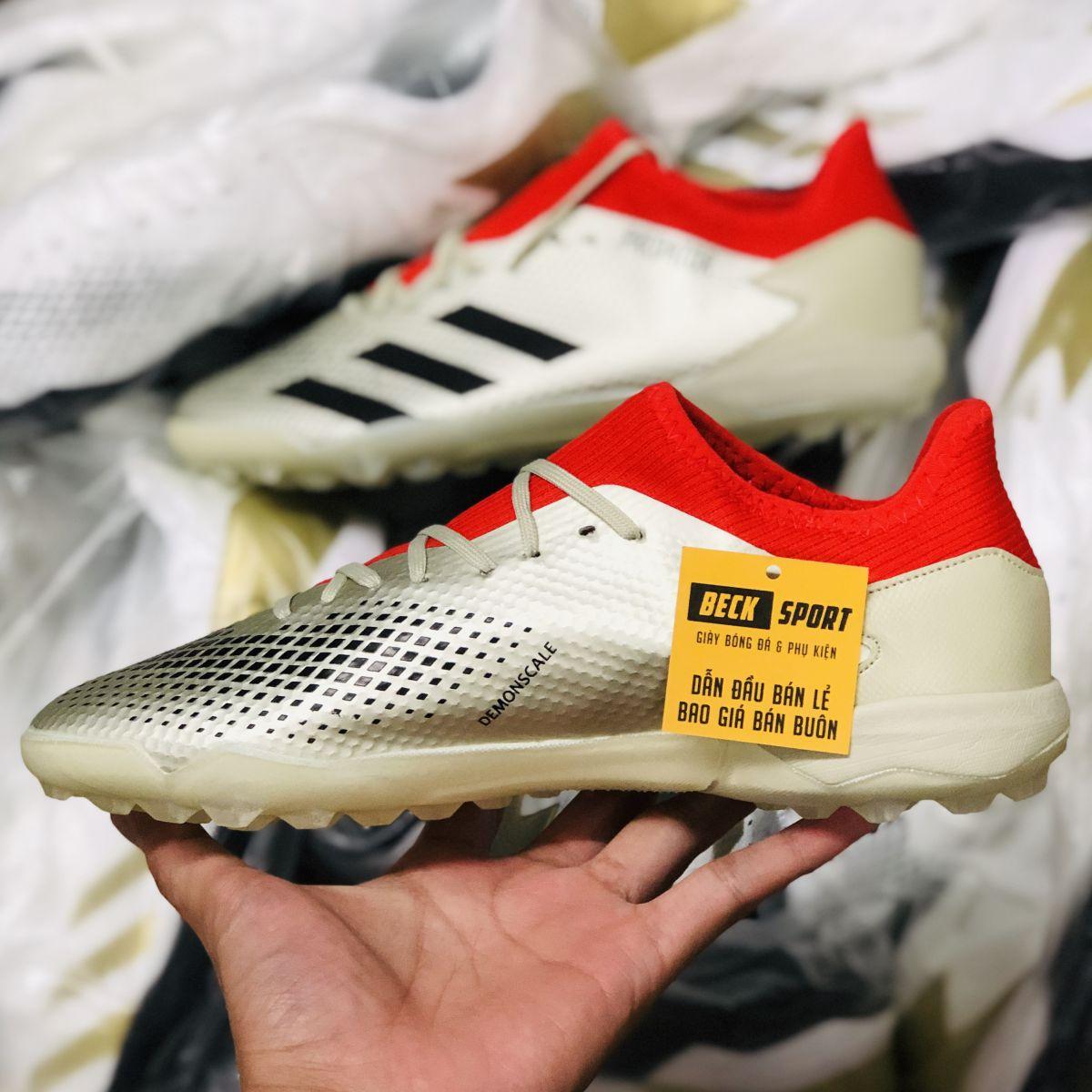 Giày Bóng Đá Adidas Predator 20.3 Trắng Ngà Đỏ Vạch Đen TF
