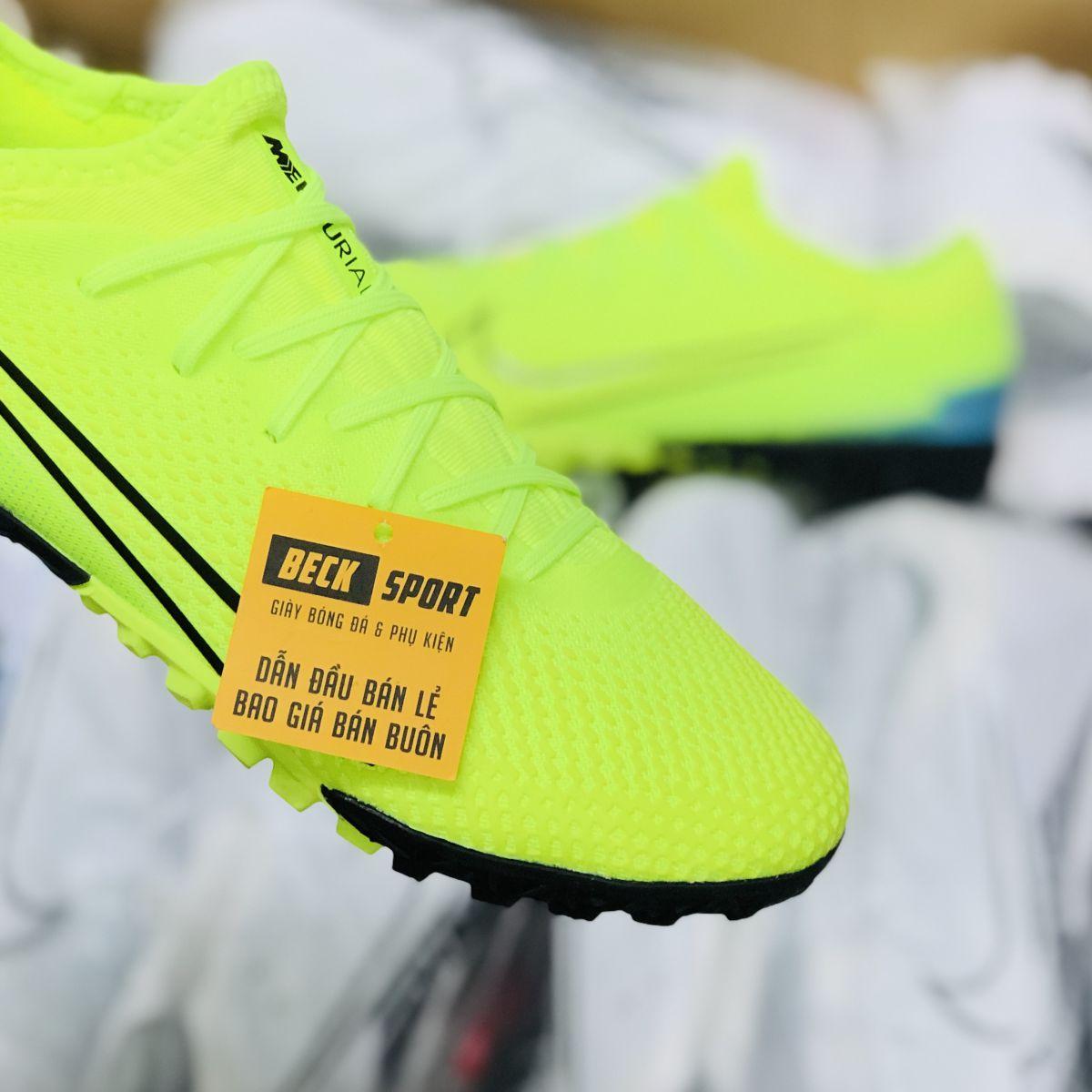 Giày Bóng Đá Nike Mercurial Vapor 13 Pro Dream Speed Nõn Chuối Xanh Ngọc Vạch Đen Cổ Lửng HQ TF