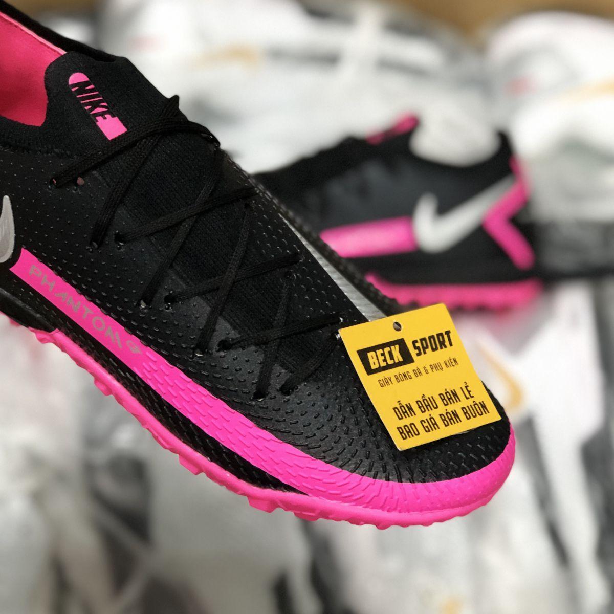 Giày Bóng Đá Nike Phantom GT Elite Đen Hồng Vạch Xám Cổ Lửng TF