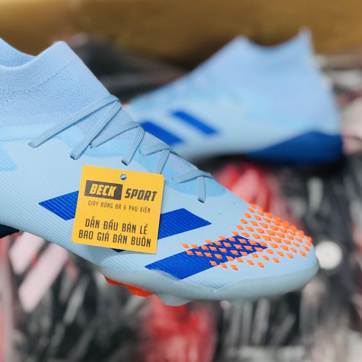 Giày Bóng Đá Adidas Predator 20.1 Xanh Ngọc Mũi Cam Cổ Cao TF