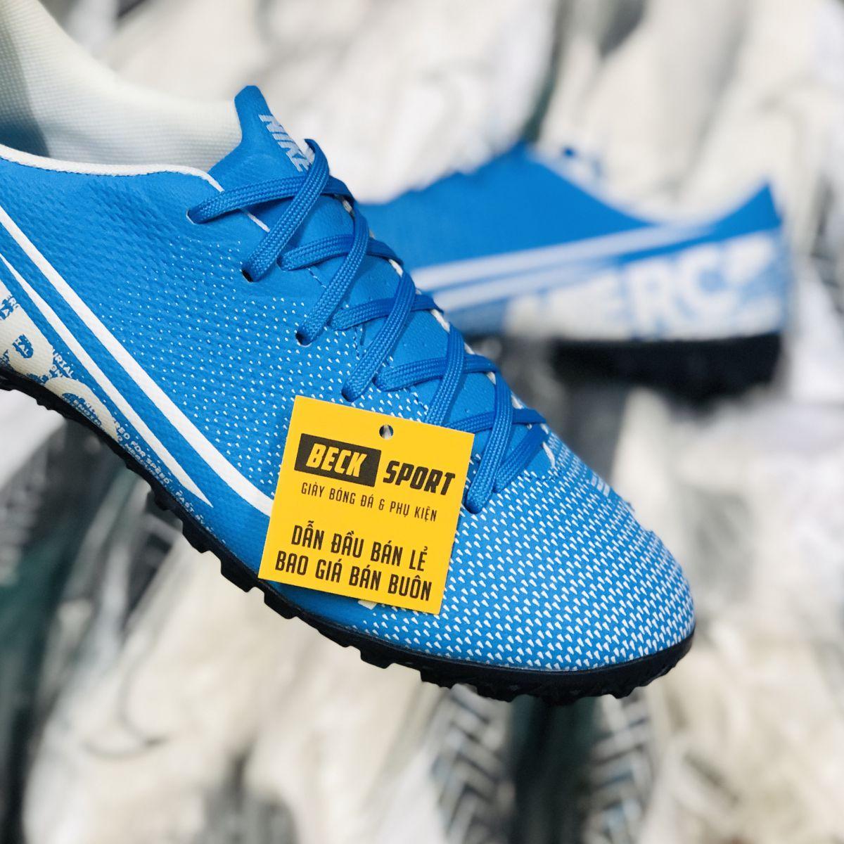 Giày Bóng Đá Nike Mercurial 13 Xanh Biển Đế Trắng TF