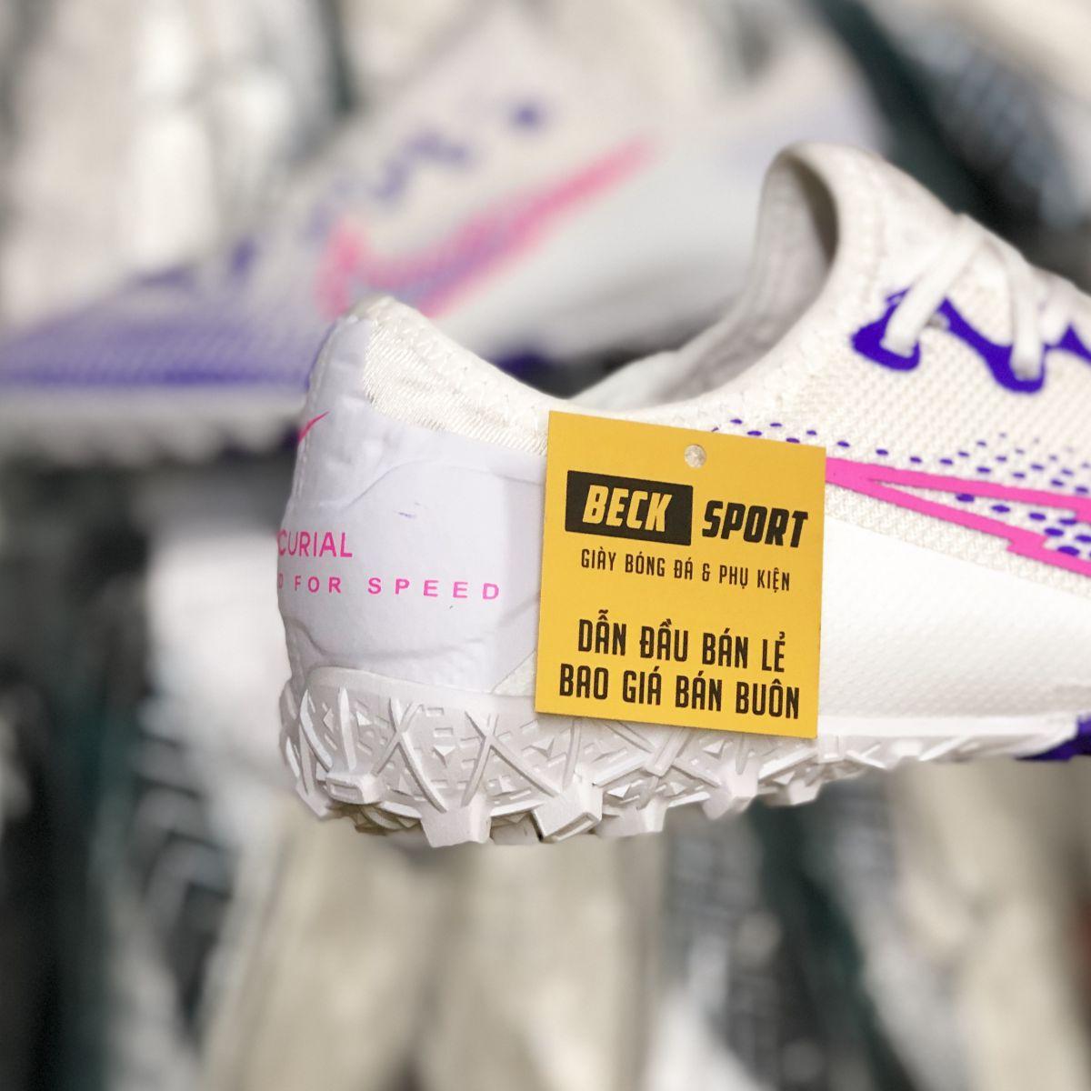 Giày Bóng Đá Nike Mercurial Vapor 13 Pro Trắng Mũi Tím Vạch Hồng V2 TF