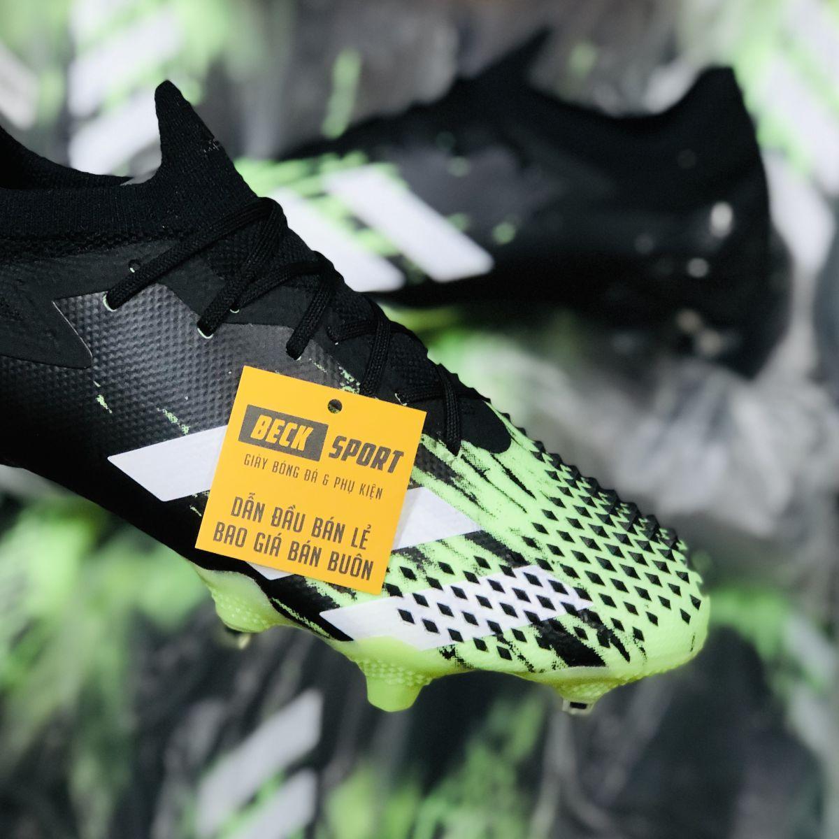 Giày Bóng Đá Adidas Predator 20.1 Đen Mũi Xanh Lá Vạch Trắng FG