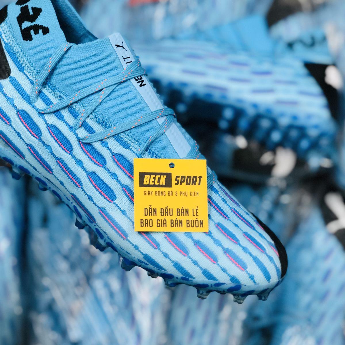 Giày Bóng Đá Puma Future 5.1 Netfit Xanh Biển Gót Đen Cổ Lửng MG