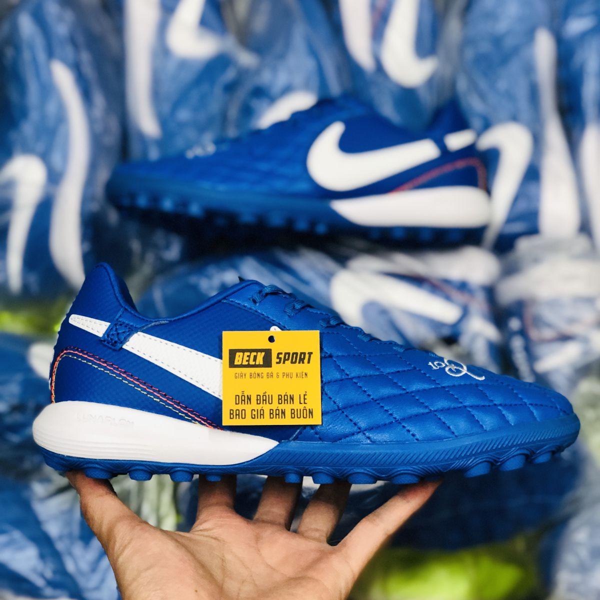 Giày Bóng Đá Nike Tiempo Lunar Legend 7 Pro Ronaldinho Xanh Biển Vạch Trắng TF