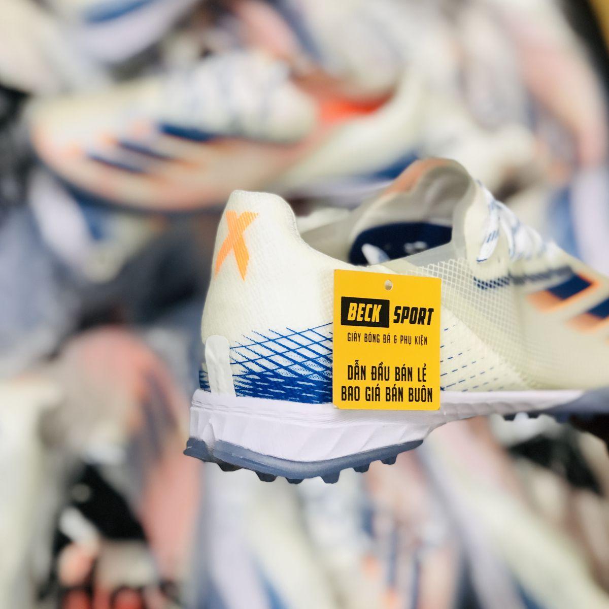 Giày Bóng Đá Adidas X Ghosted .1 Trắng Vạch Xanh Biển Cam TF