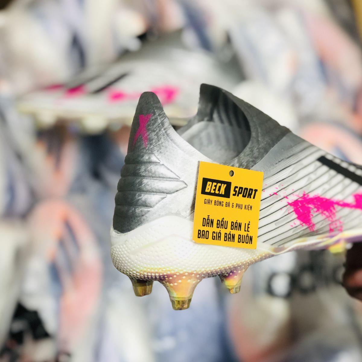 Giày Bóng Đá Adidas X 19+ Xám Hồng Vạch Đen Không Dây FG