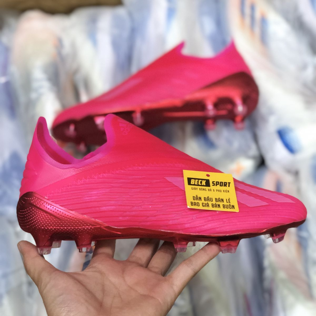 Giày Bóng Đá Adidas X 19+ Locality Hồng Không Dây FG